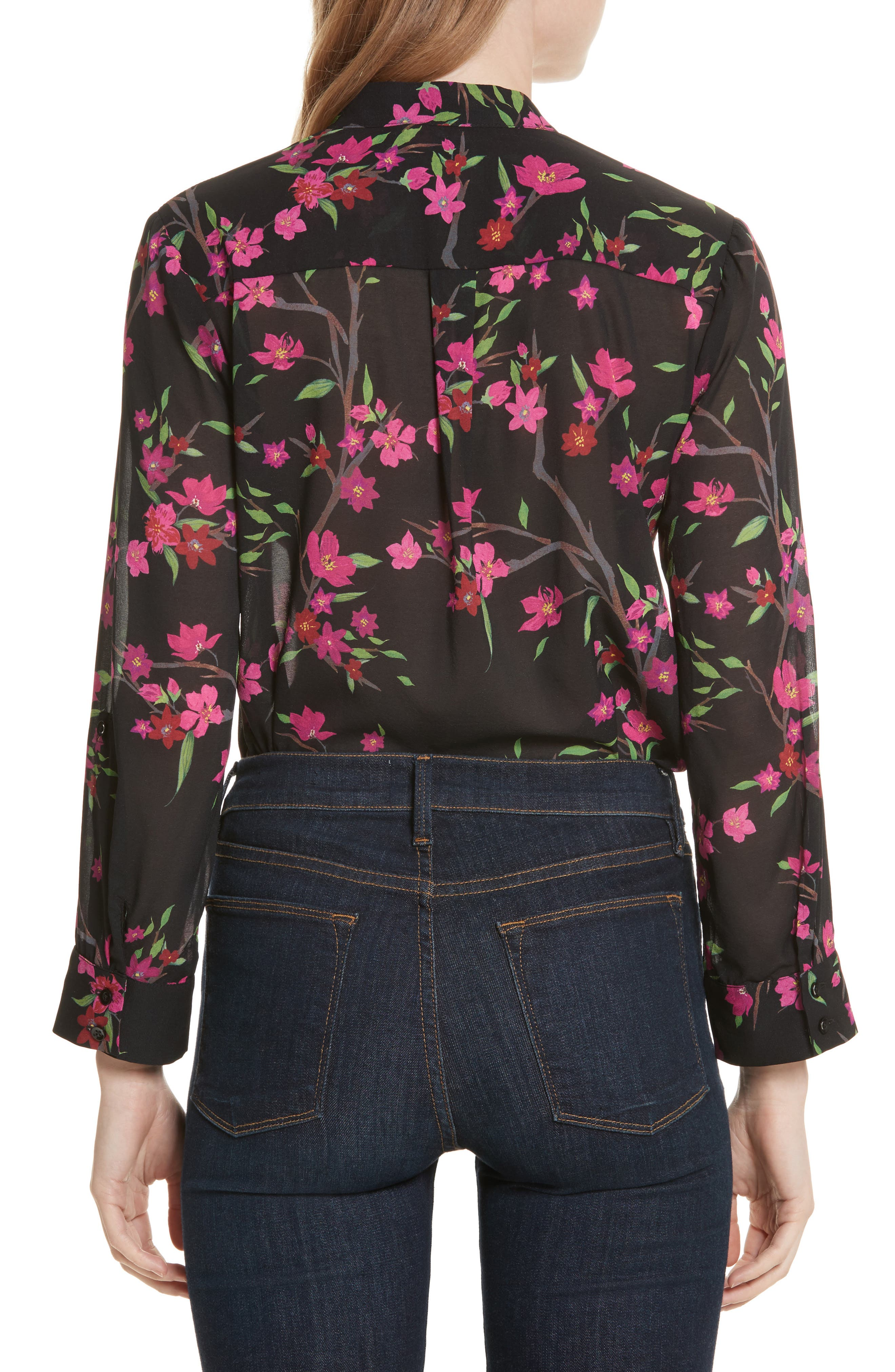 Eloise Mandarin Collar Blouse,                             Alternate thumbnail 3, color,                             Sakura Floral/ Black