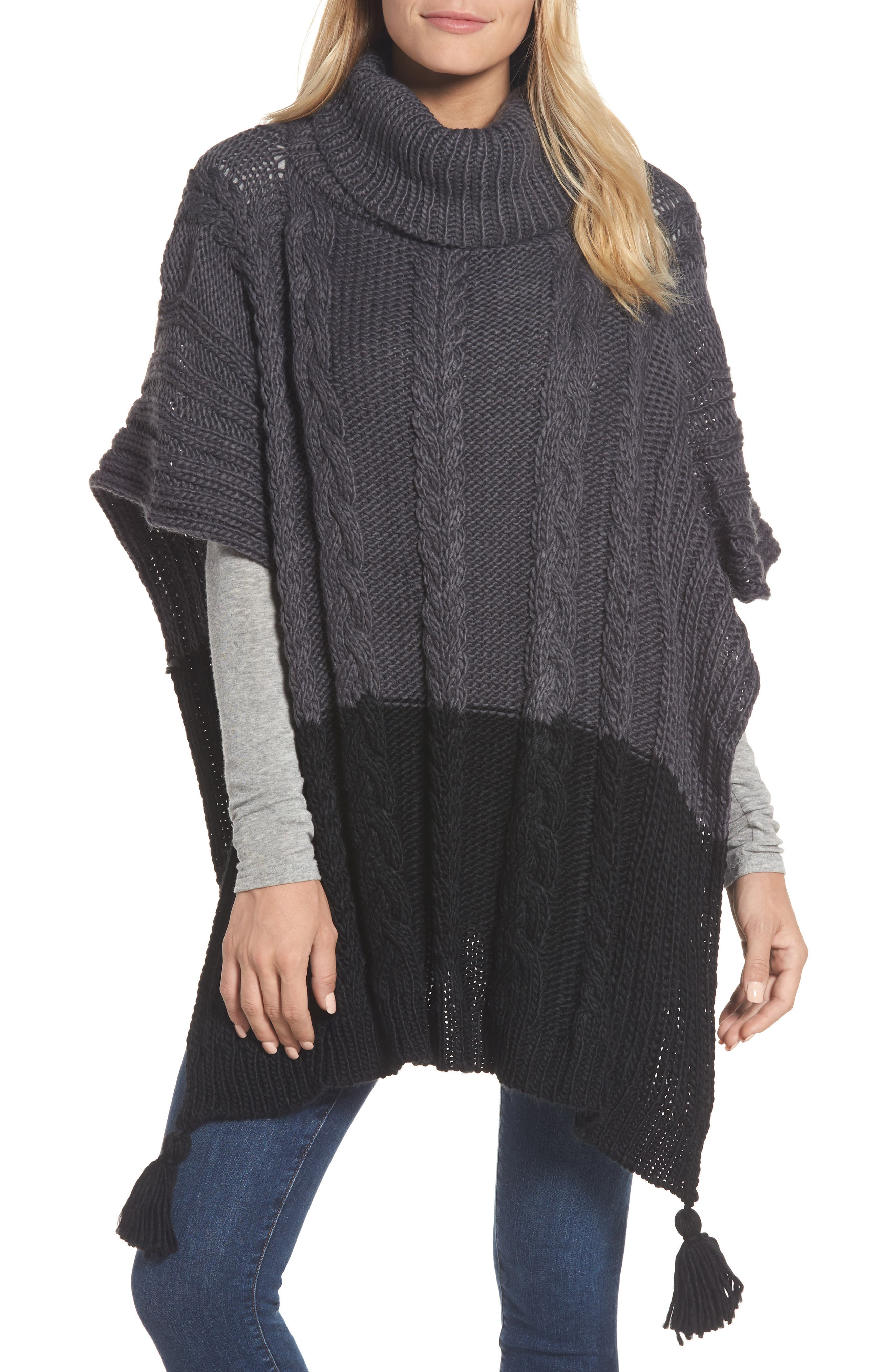 Cable Knit Poncho,                         Main,                         color, Grey Night