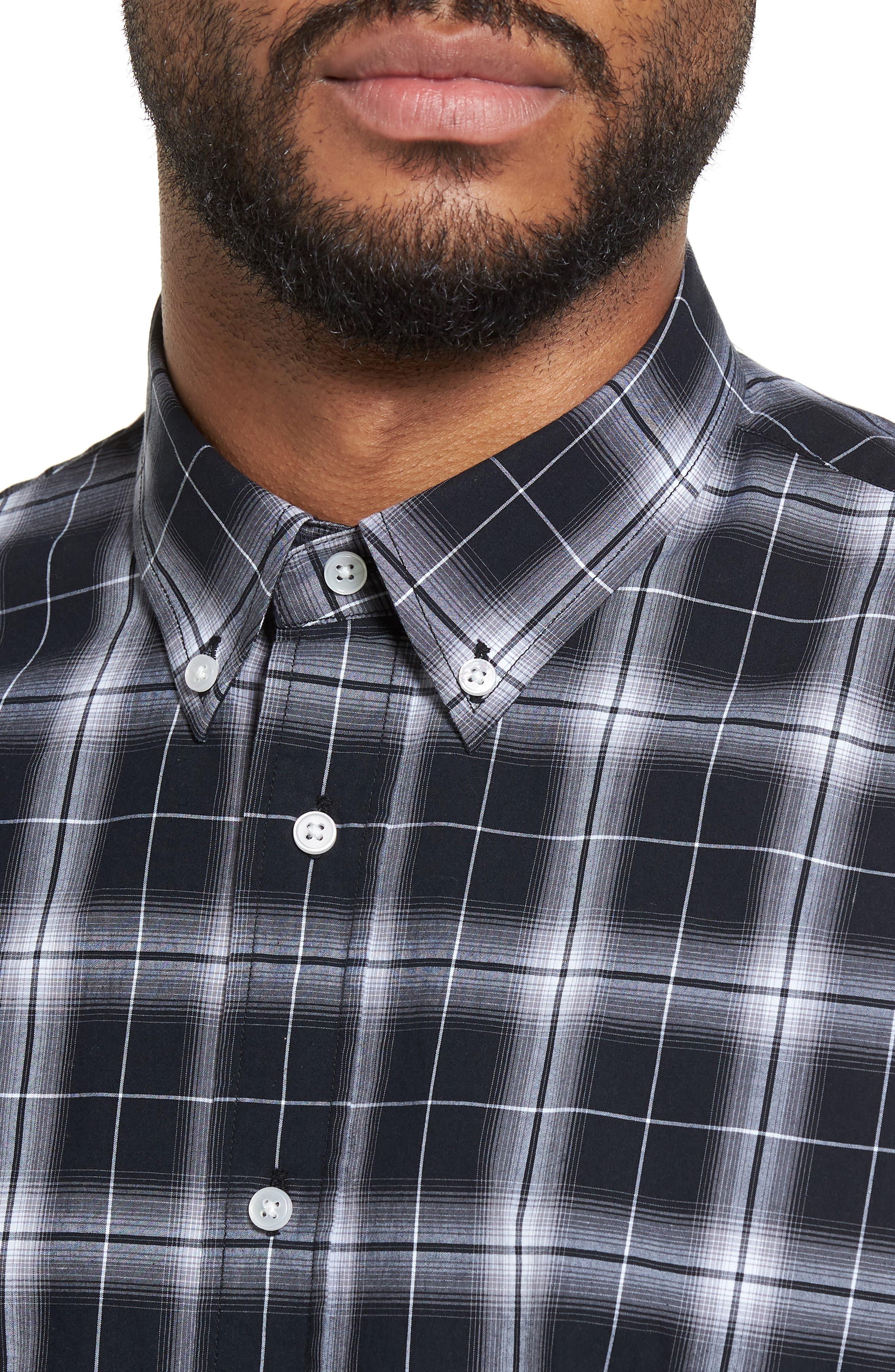 Alternate Image 4  - Slate & Stone Trim Fit Ombré Plaid Sport Shirt