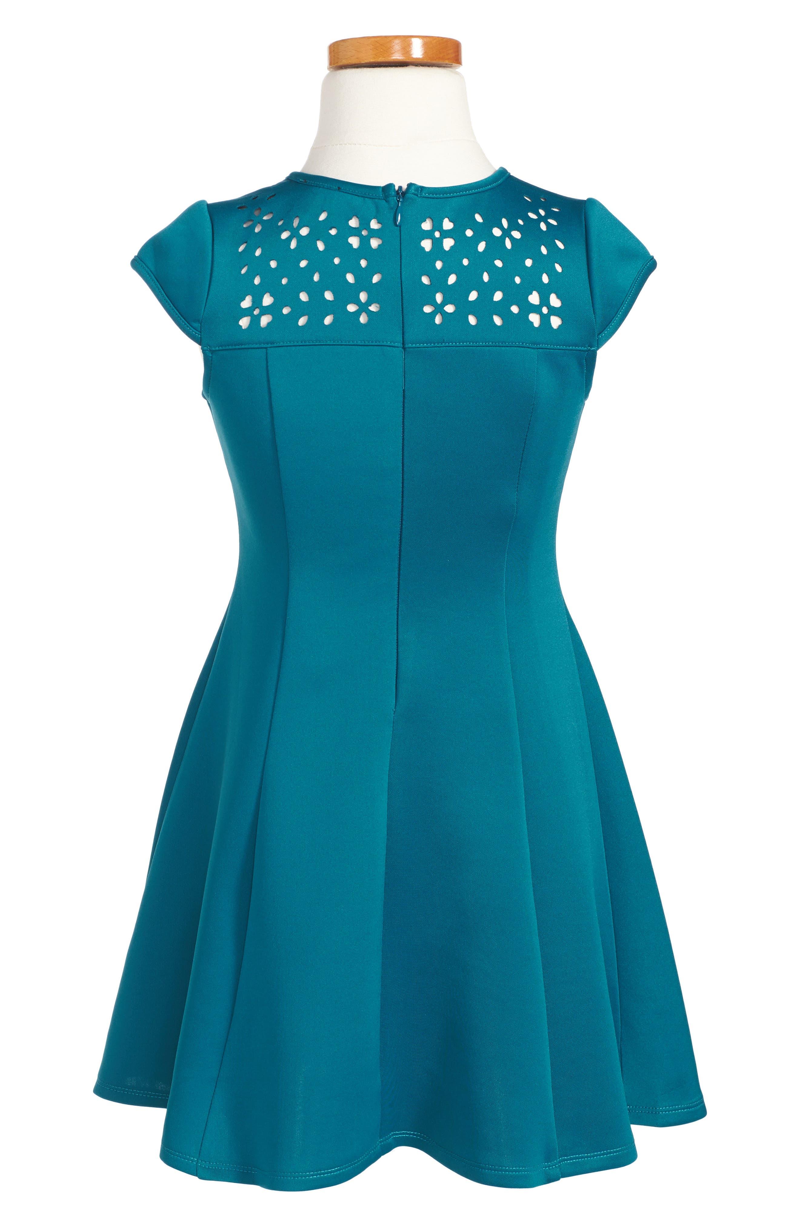 Cutout Scuba Dress,                             Alternate thumbnail 2, color,                             Teal
