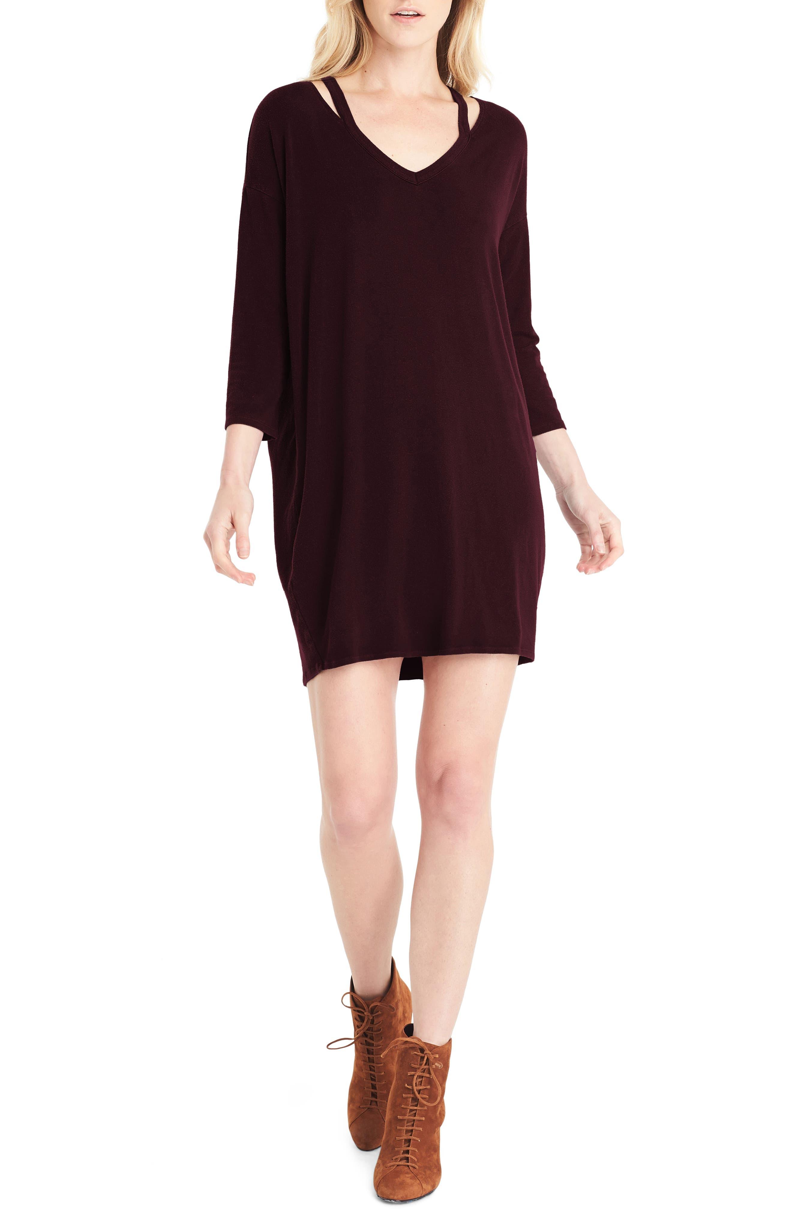 Slit Shoulder V-Neck Dress,                         Main,                         color, Bourbon