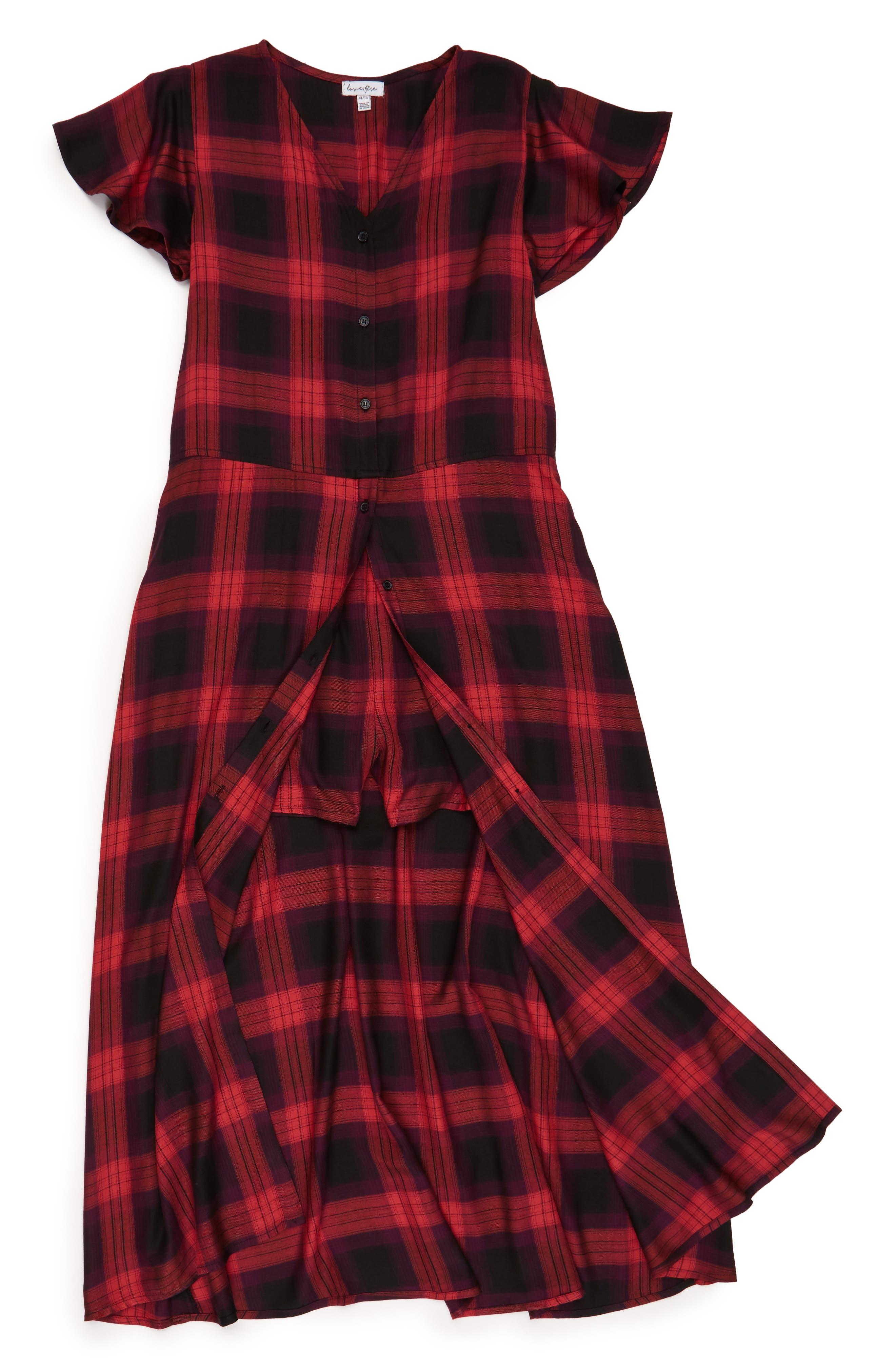 Love, Fire Plaid Maxi Shirtdress (Big Girls)
