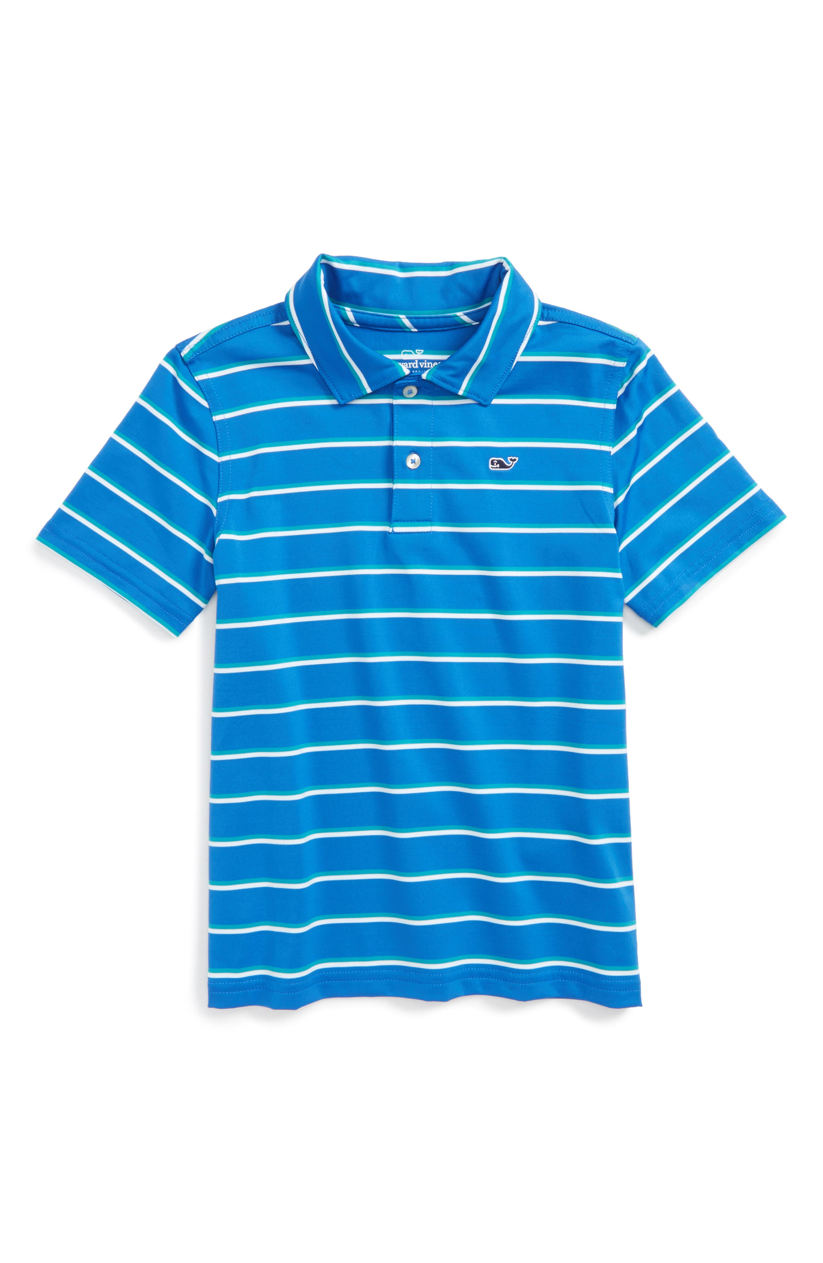 Open Ground Stripe Performance Polo,                         Main,                         color, Spinnaker