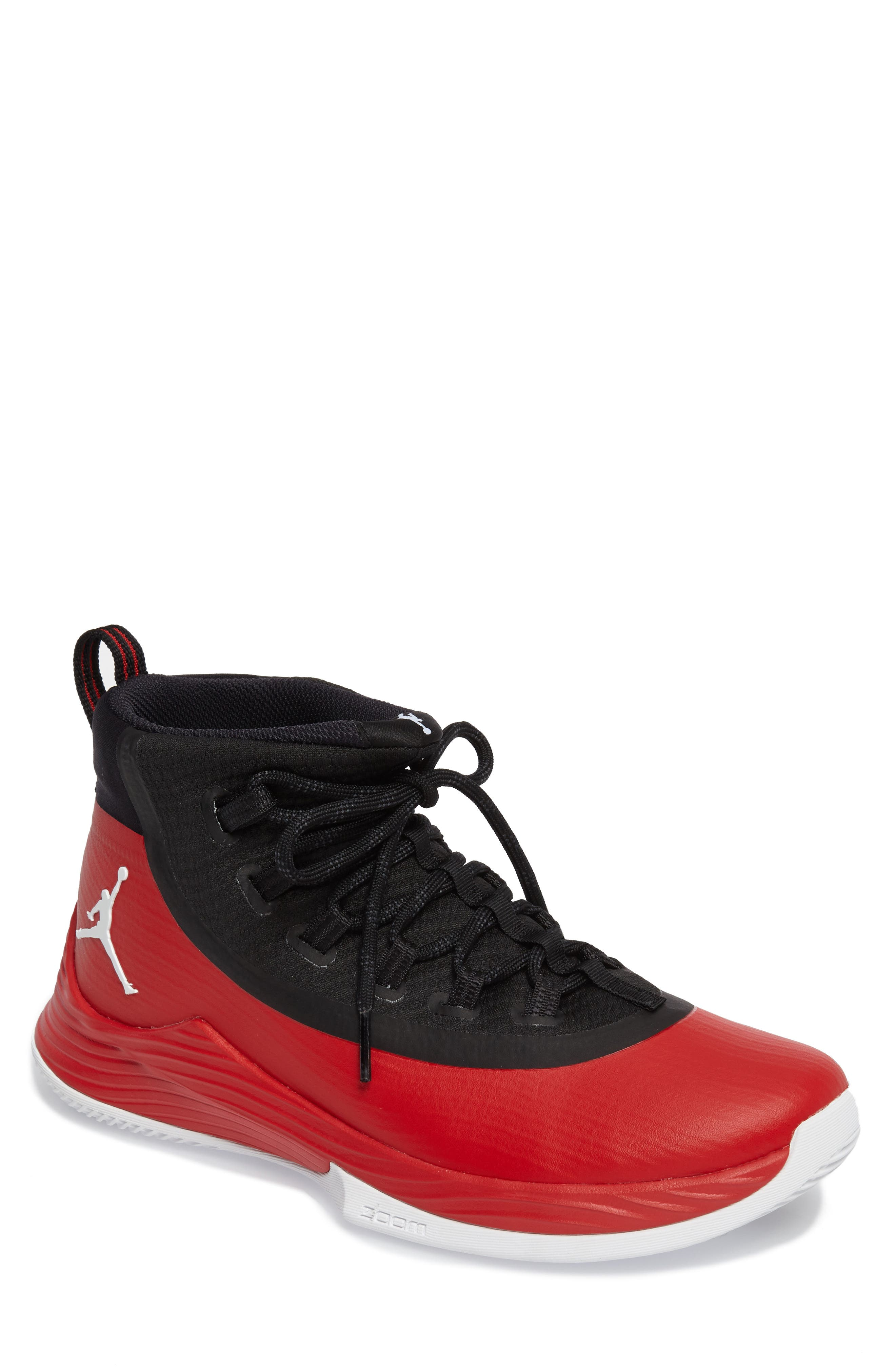 Jordan Ultra Fly 2 Basketball Shoe,                         Main,                         color, University Red/ White/ Black
