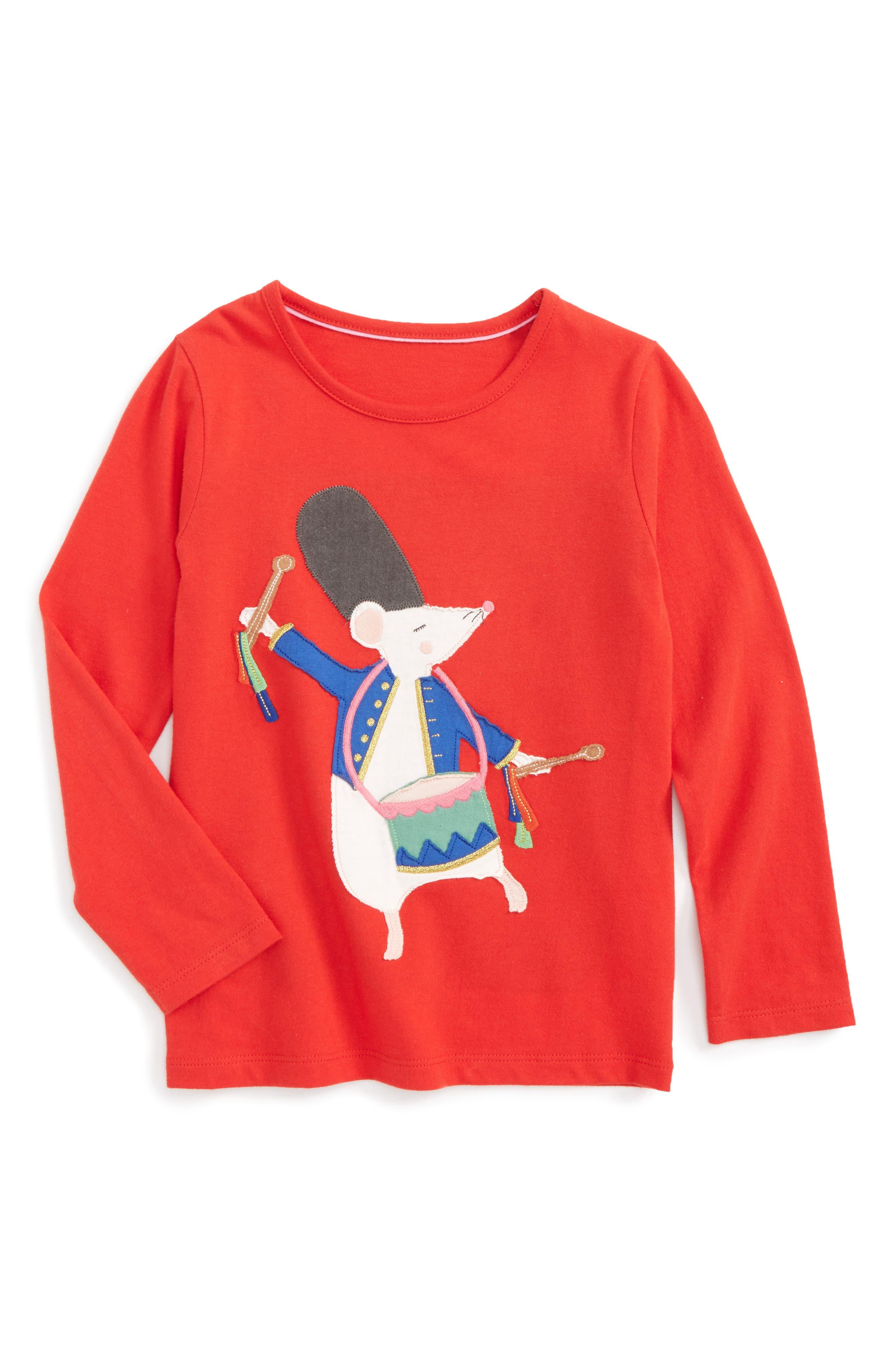 Mini Boden Christmas Storytelling Appliqué Tee (Toddler Girls, Little Girls & Big Girls)