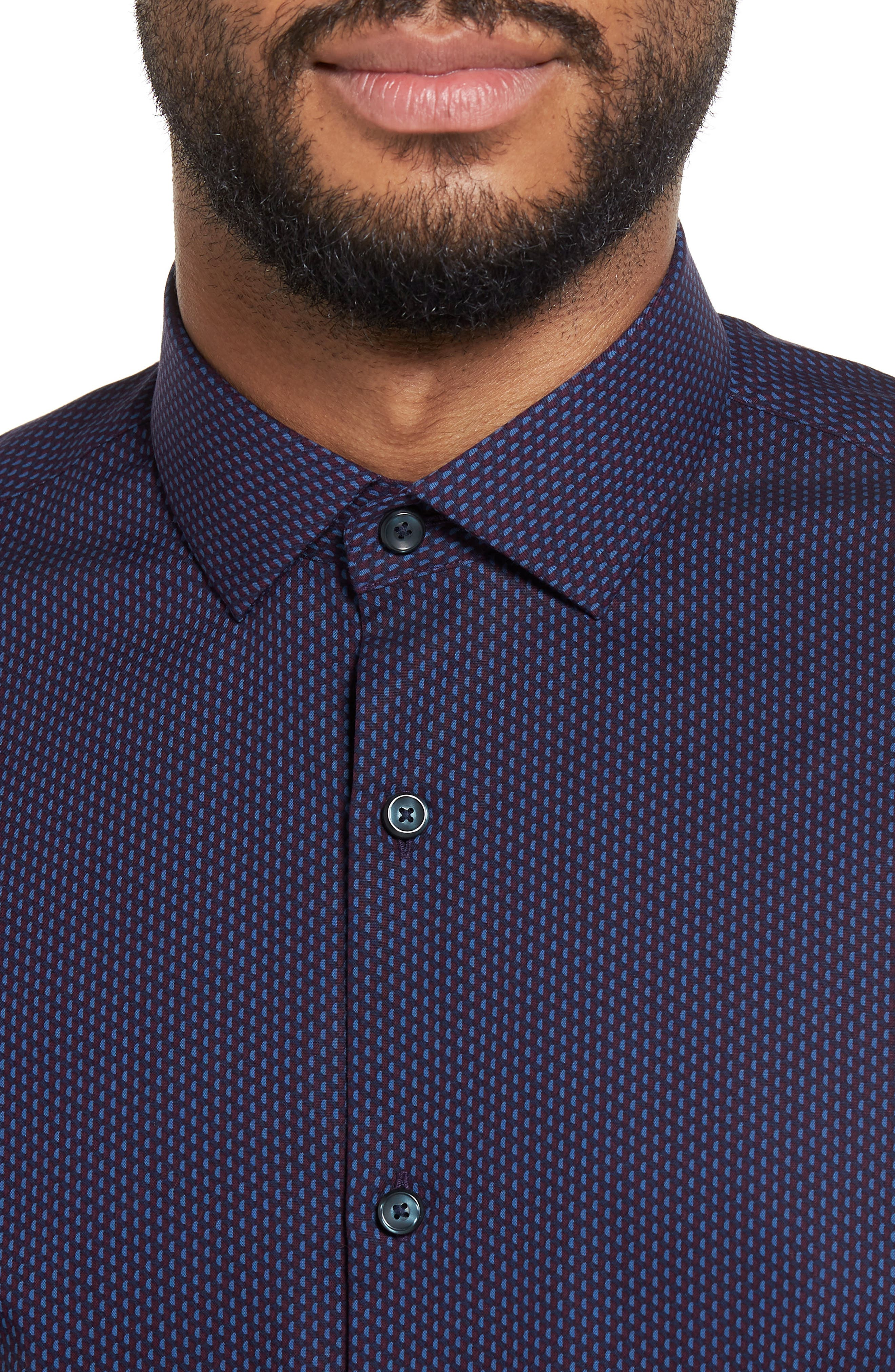 Print Sport Shirt,                             Alternate thumbnail 4, color,                             Blue Dark Burgundy Geo Print
