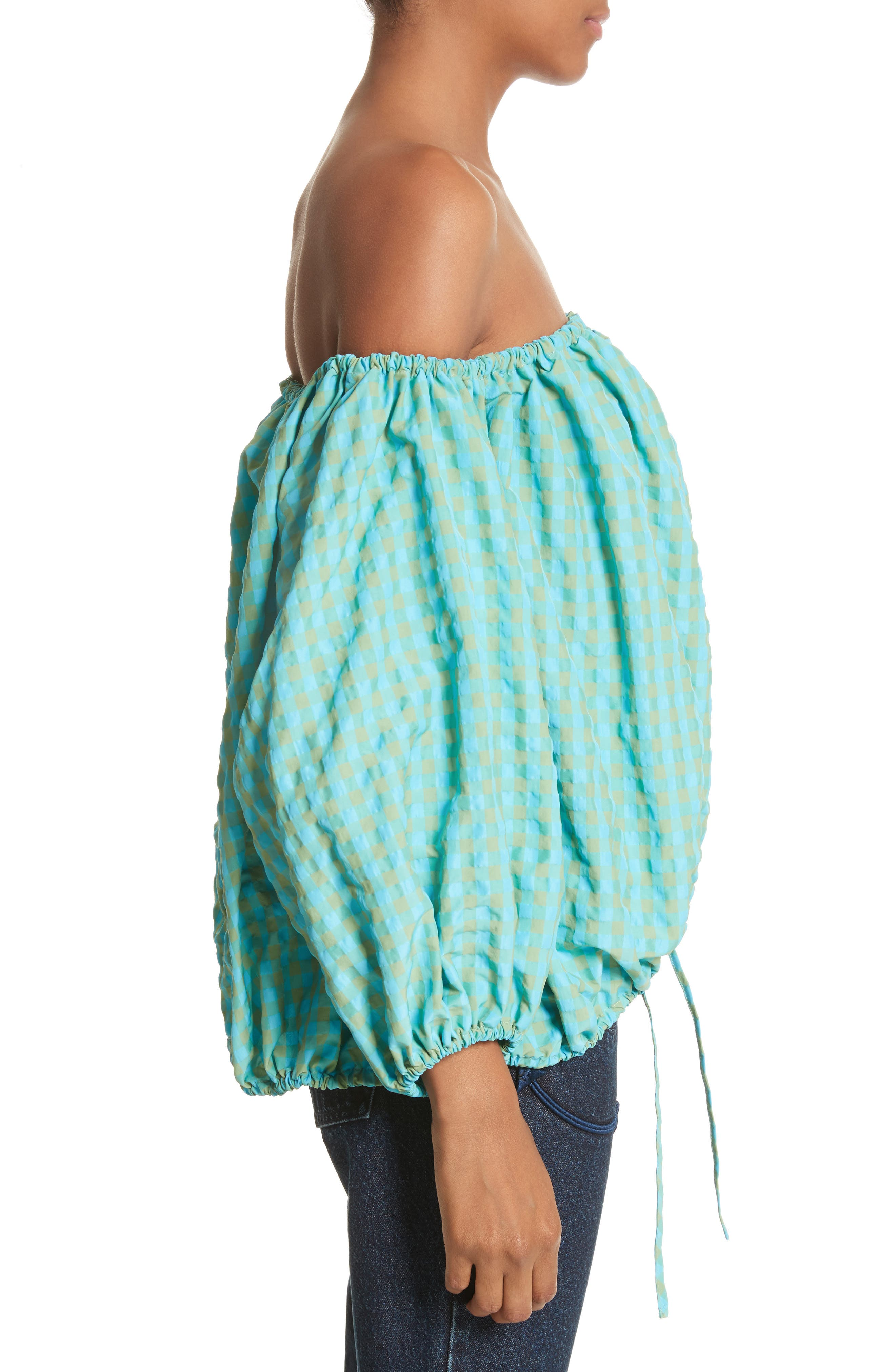 Marques'Almeida Off the Shoulder Gingham Top,                             Alternate thumbnail 3, color,                             Turquoise Gingham