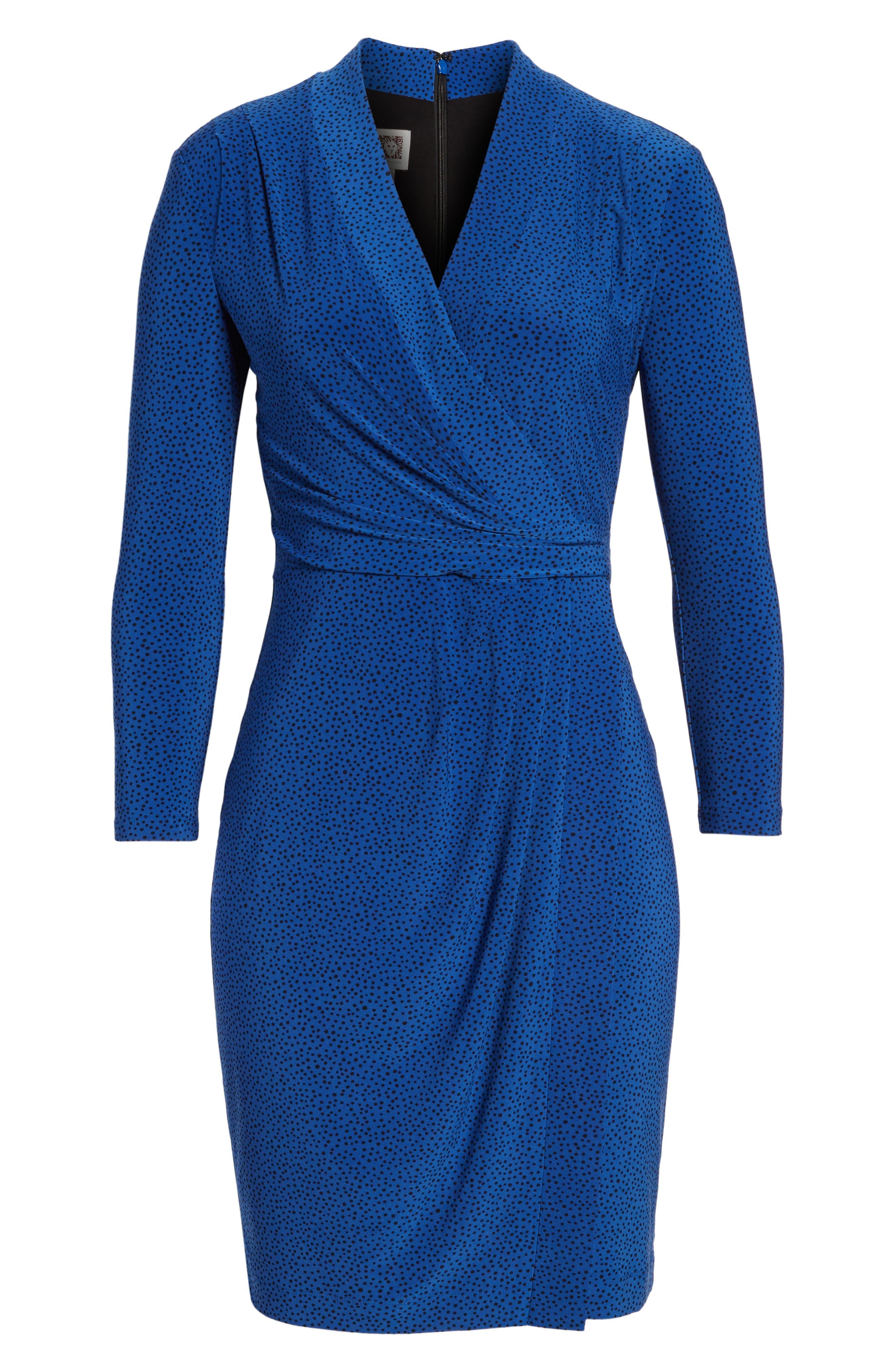 City Faux Wrap Dress,                             Alternate thumbnail 6, color,                             Mariner/ Black