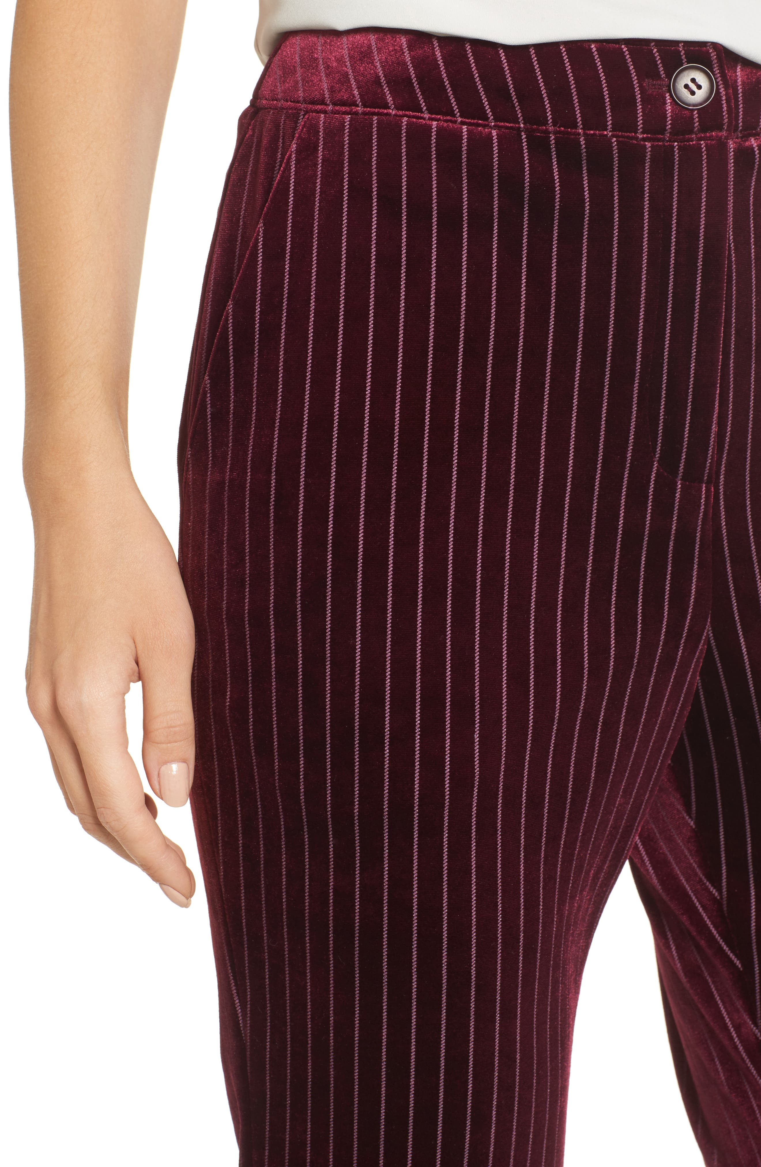 Velour Ankle Trousers,                             Alternate thumbnail 4, color,                             Red Tannin Dotted Stripe