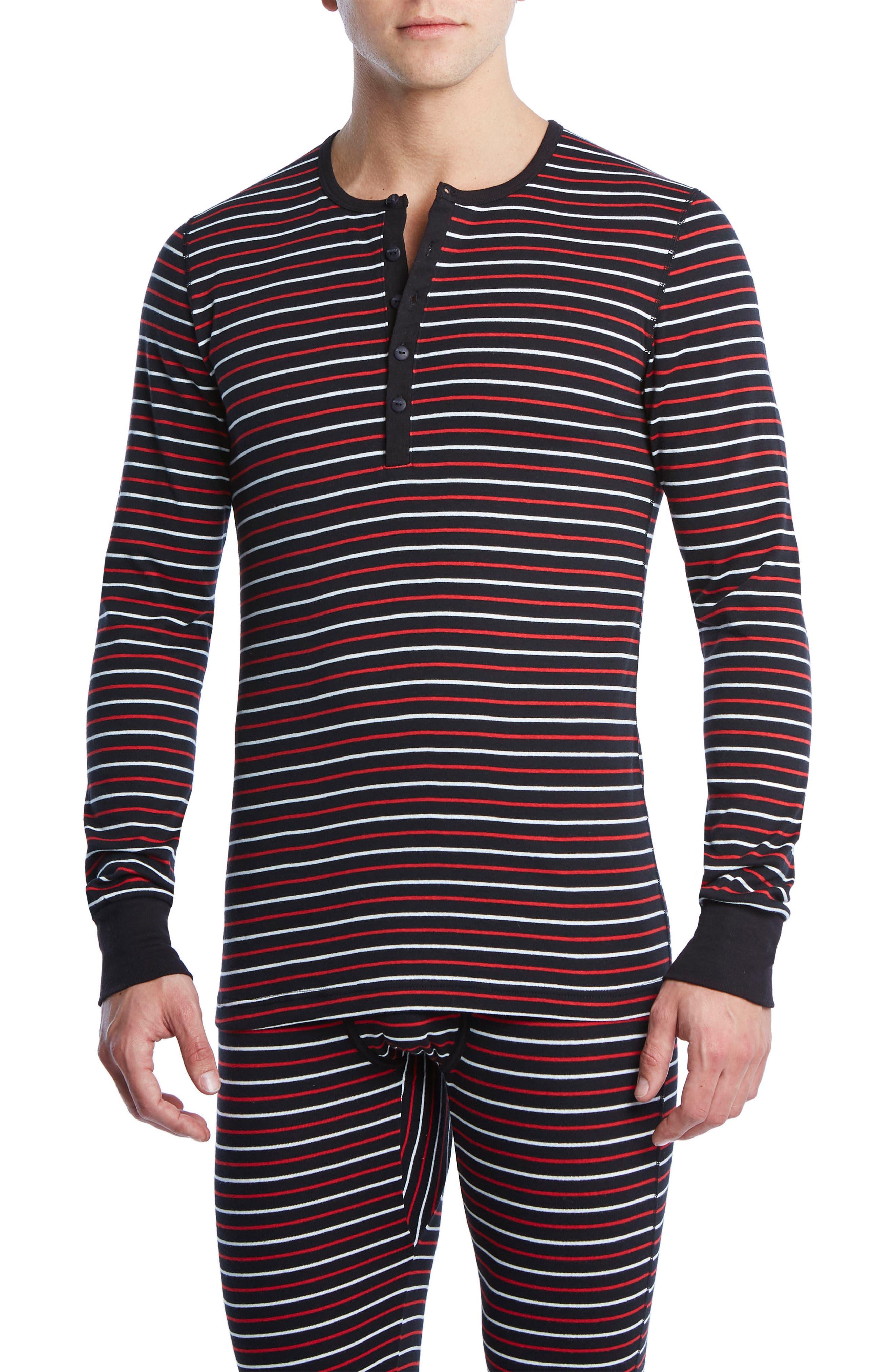 Cotton Henley,                         Main,                         color, Stripe Black