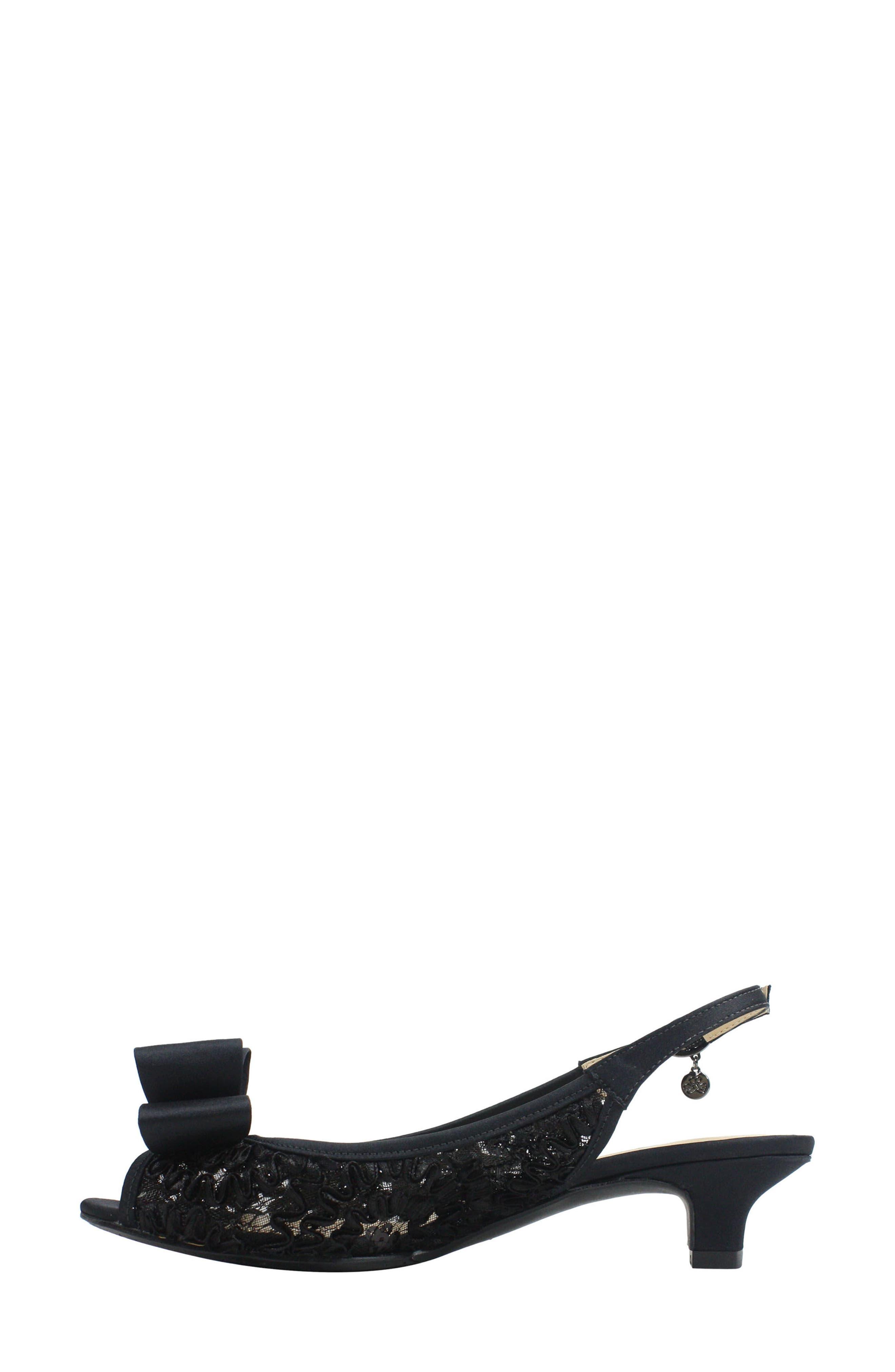 Landan Bow Slingback Sandal,                             Alternate thumbnail 2, color,                             Black Lace