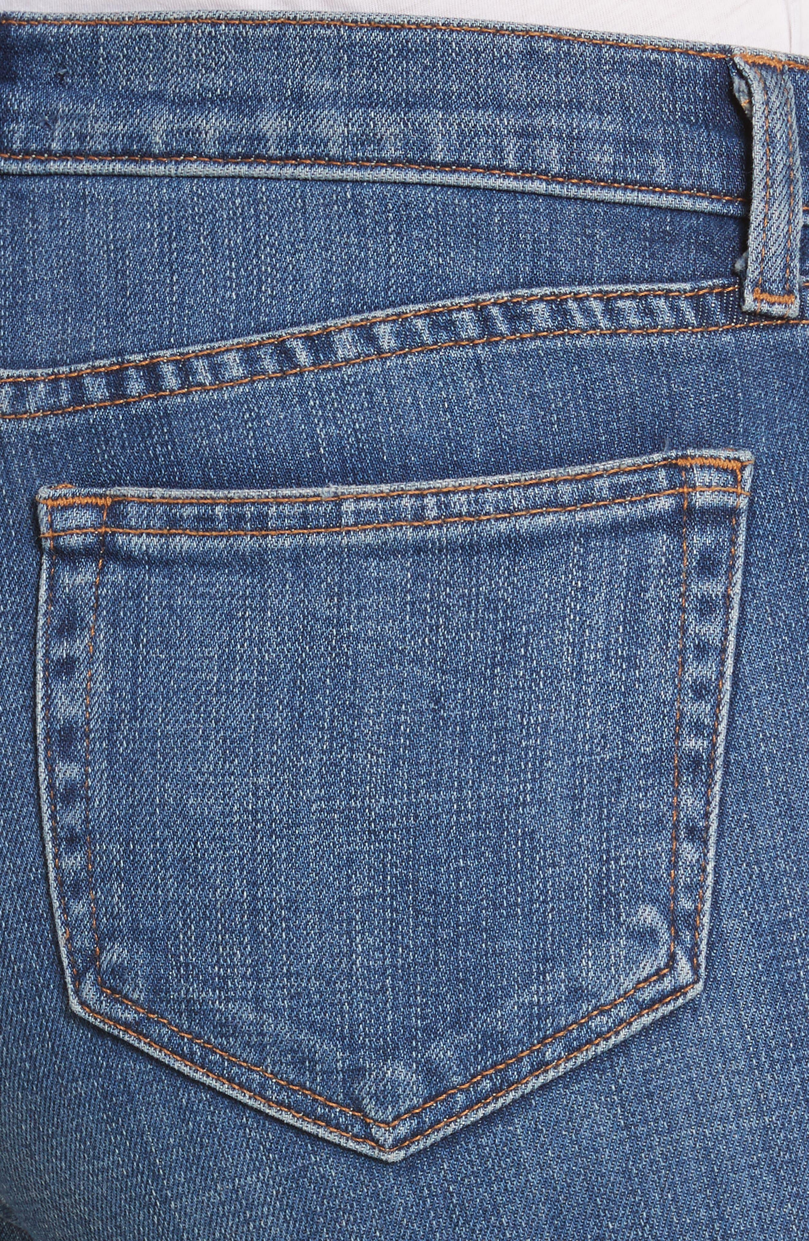 Laguna French High Waist Release Hem Jeans,                             Alternate thumbnail 4, color,                             Indigo