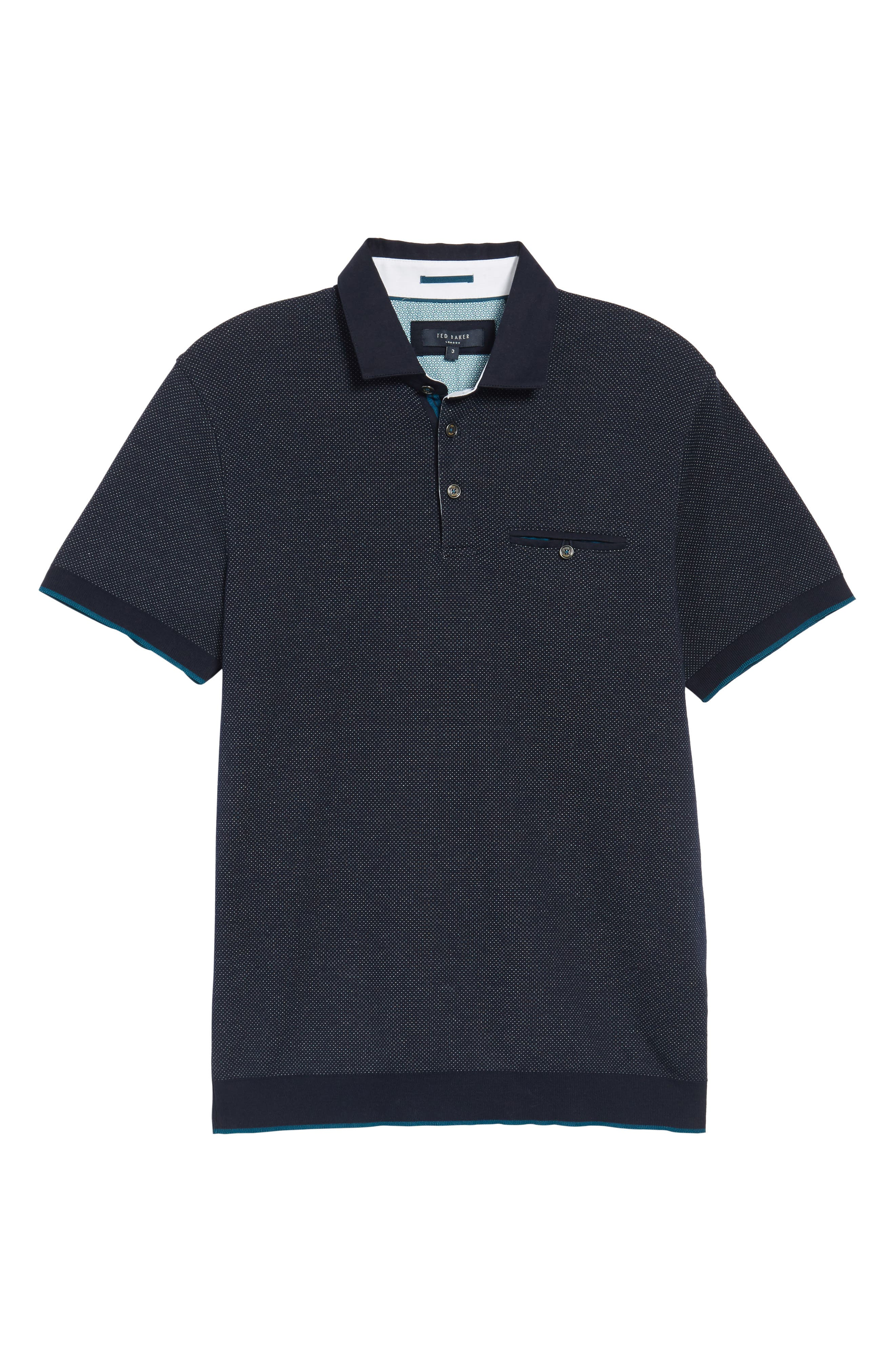 Alburt Modern Slim Fit Polo,                             Alternate thumbnail 5, color,                             Navy