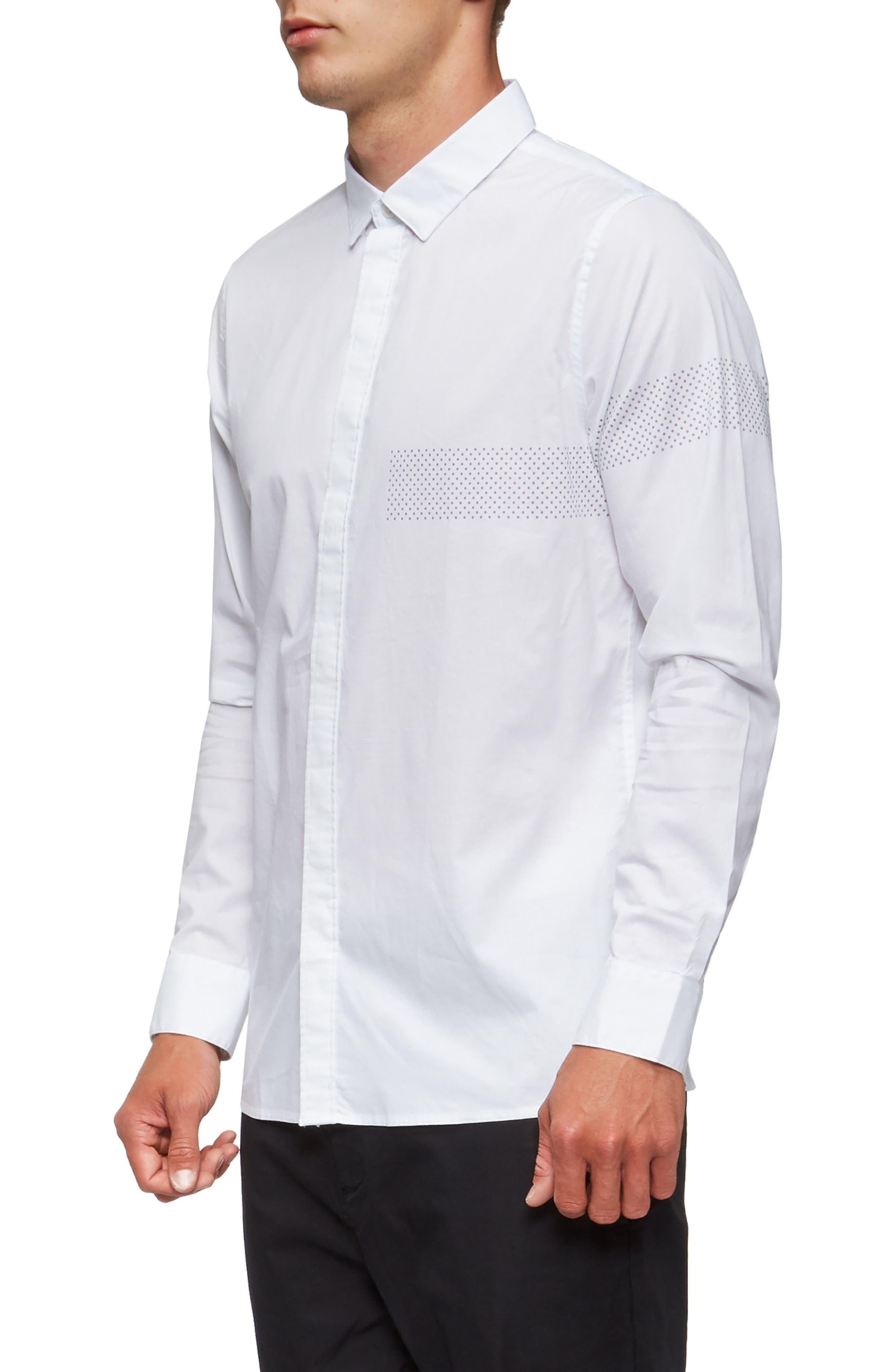 Bexley Long Sleeve Sport Shirt,                             Alternate thumbnail 3, color,                             White/ Grey