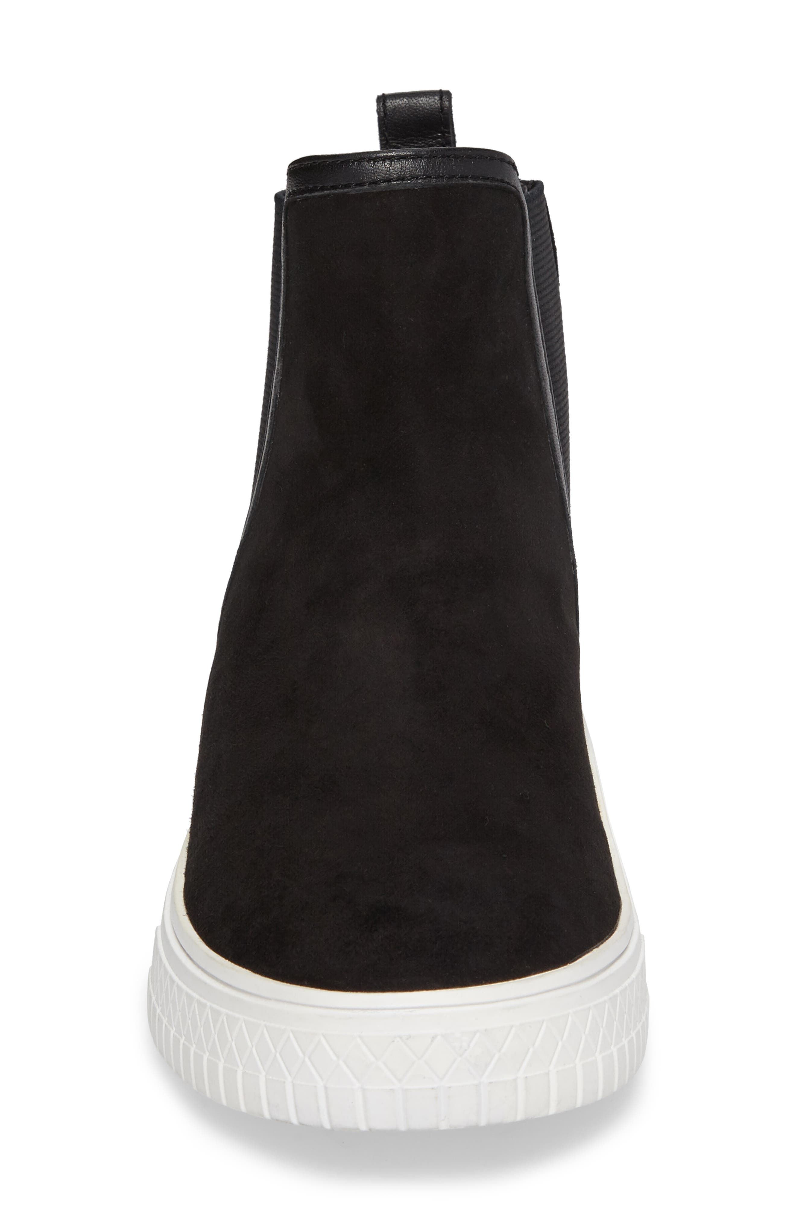 Gage Chelsea Boot,                             Alternate thumbnail 4, color,                             Black Suede