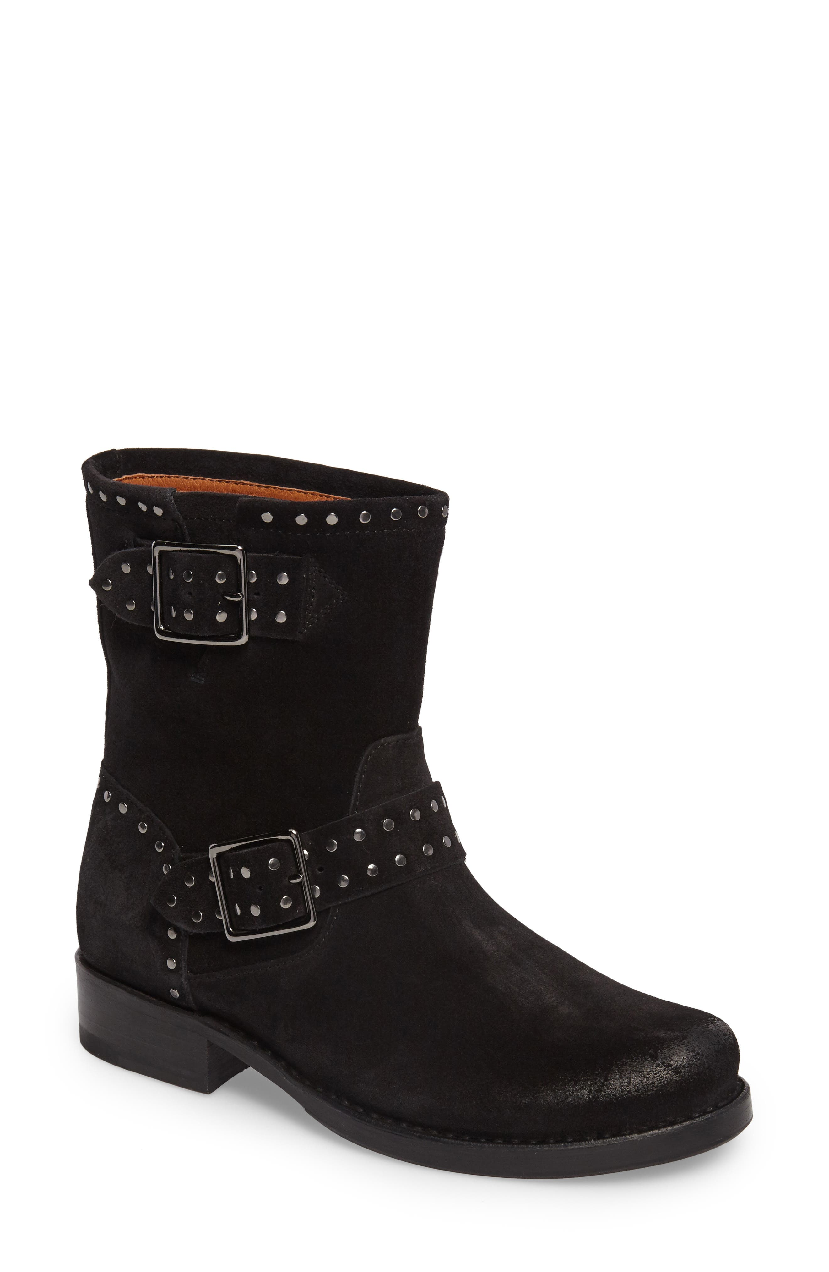 Vicky Stud Engineer Boot,                         Main,                         color, Black Suede