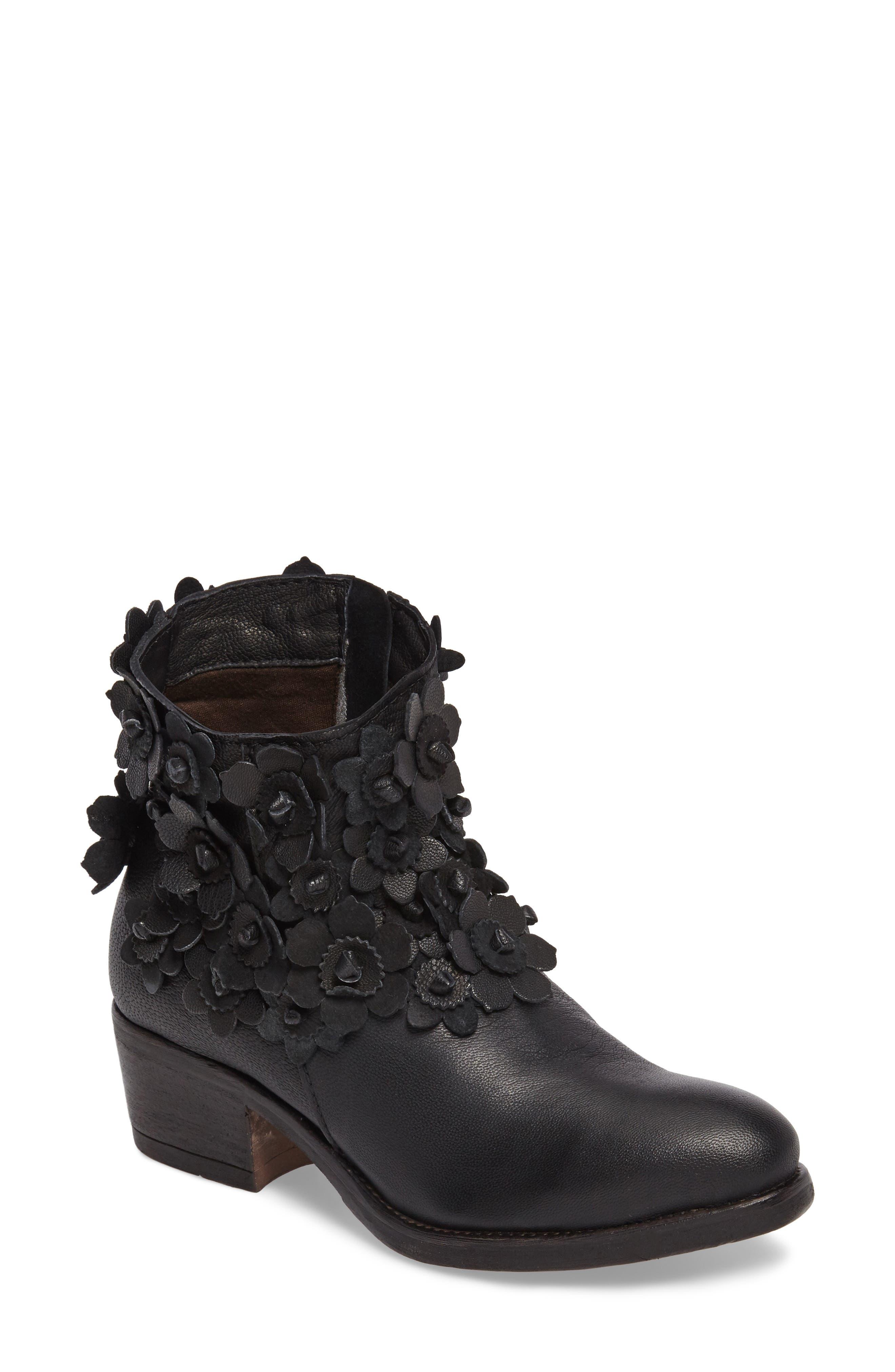 Saffron Bootie,                         Main,                         color, Black Leather