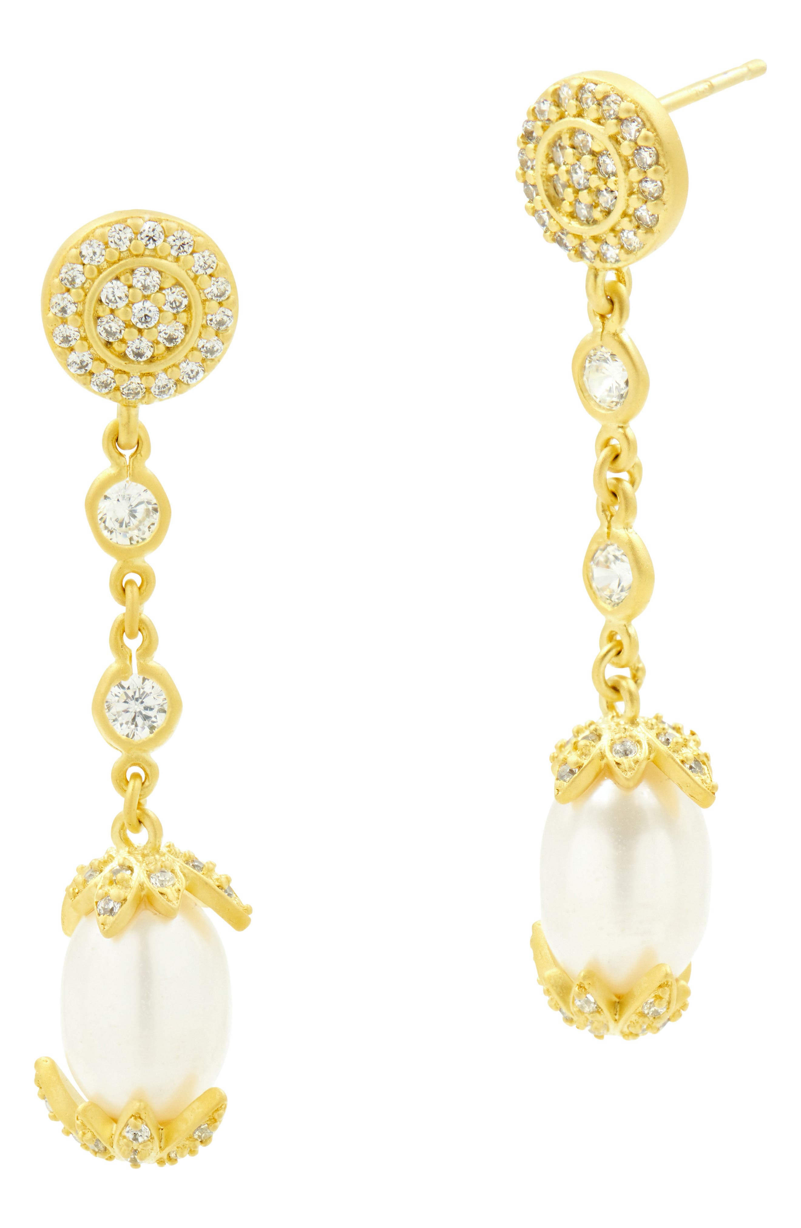 Audrey Linear Drop Earrings,                             Alternate thumbnail 3, color,                             Gold/ Clear