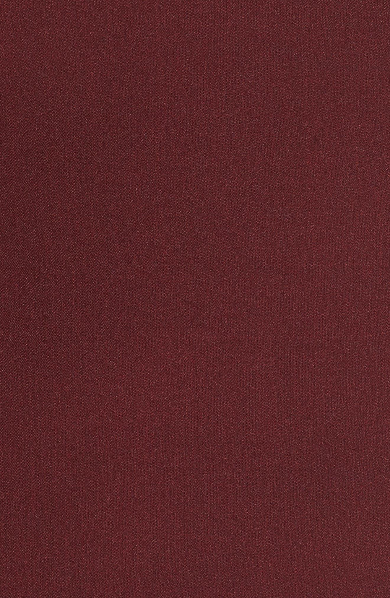 Scalloped Crepe Sheath Dress,                             Alternate thumbnail 5, color,                             Marsala