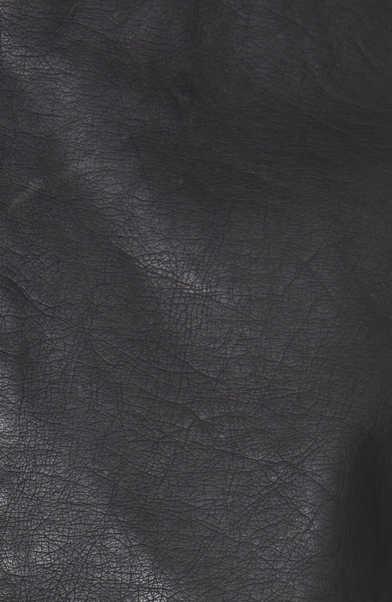 Gavin Faux Leather Bomber Jacket,                             Alternate thumbnail 6, color,                             Black