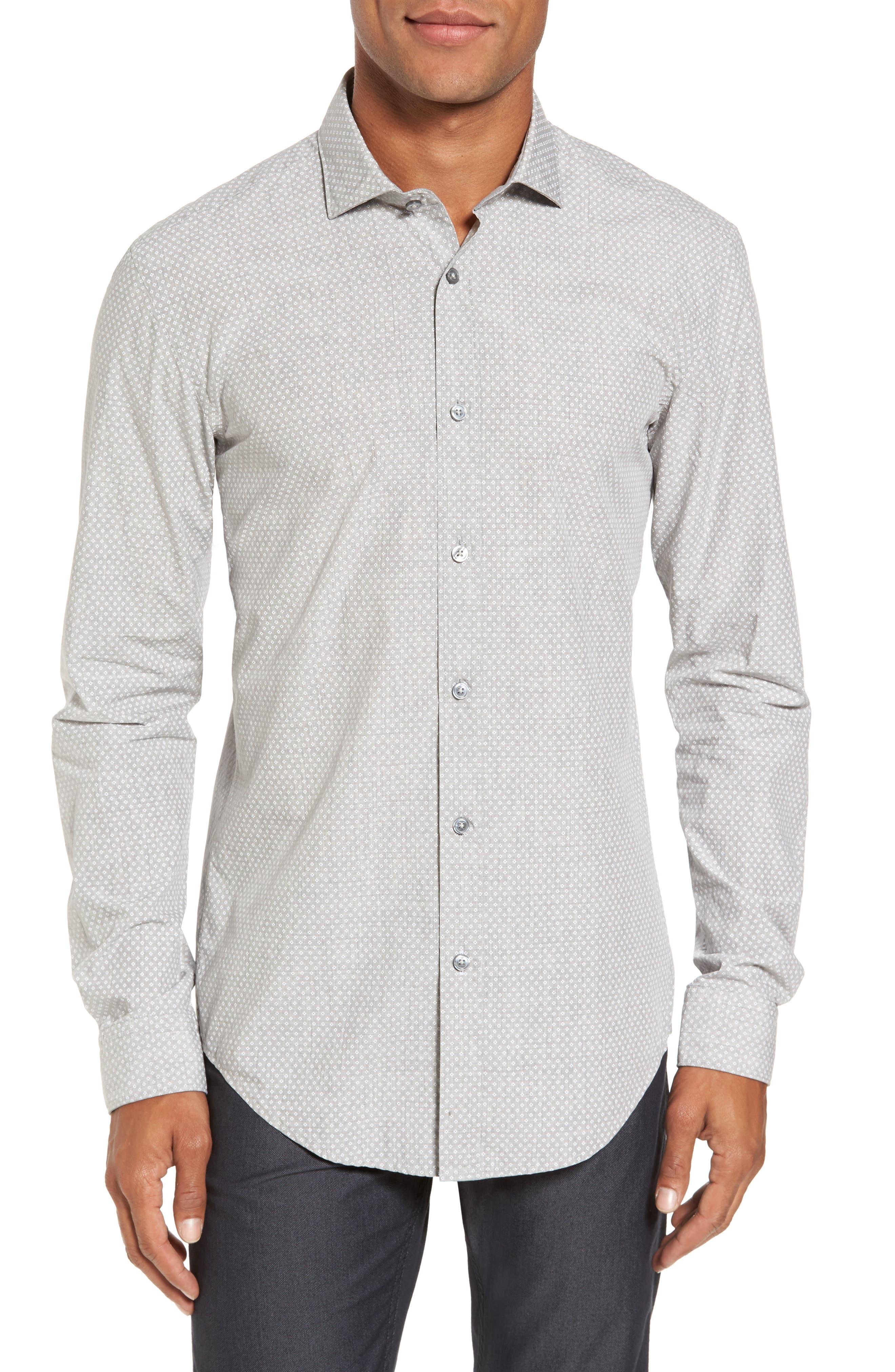 Ridley Slim Fit Micro Diamond Sport Shirt,                         Main,                         color, Grey