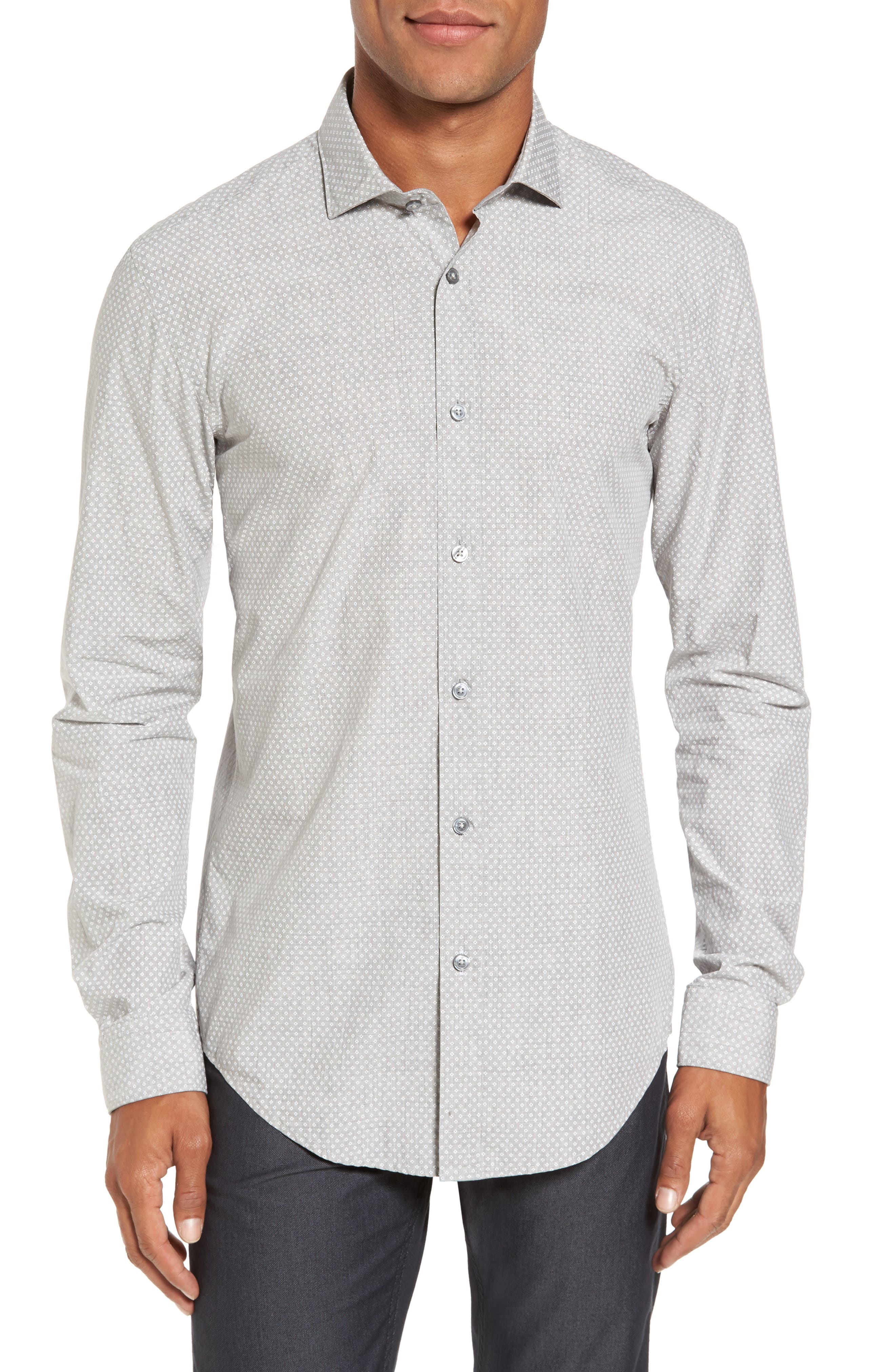 BOSS Ridley Slim Fit Micro Diamond Sport Shirt