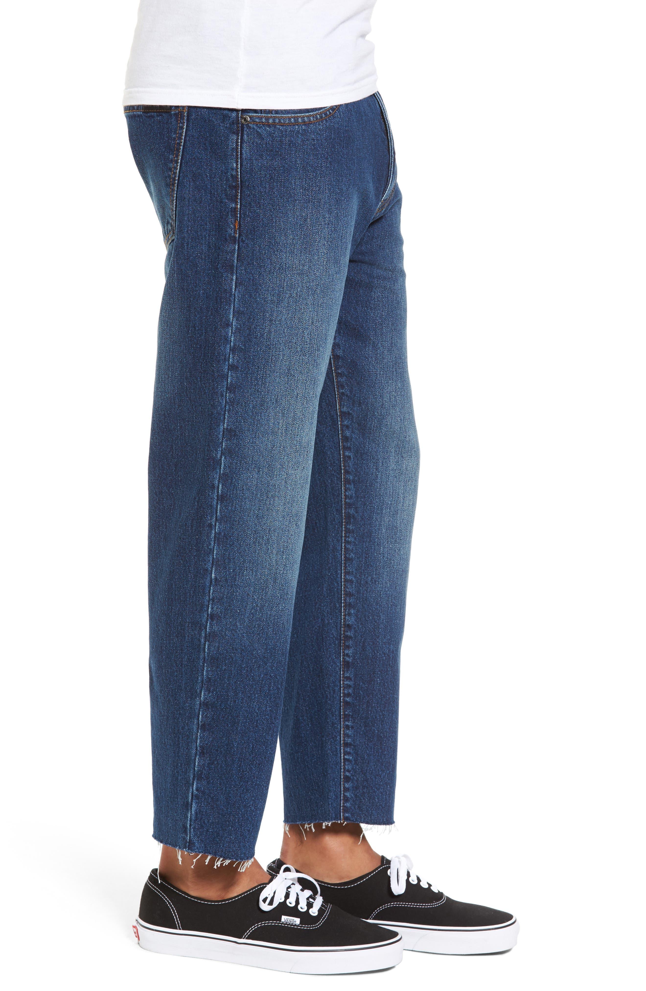 Otis Straight Fit Crop Jeans,                             Alternate thumbnail 3, color,                             Worn Mid Blue Raw Hem