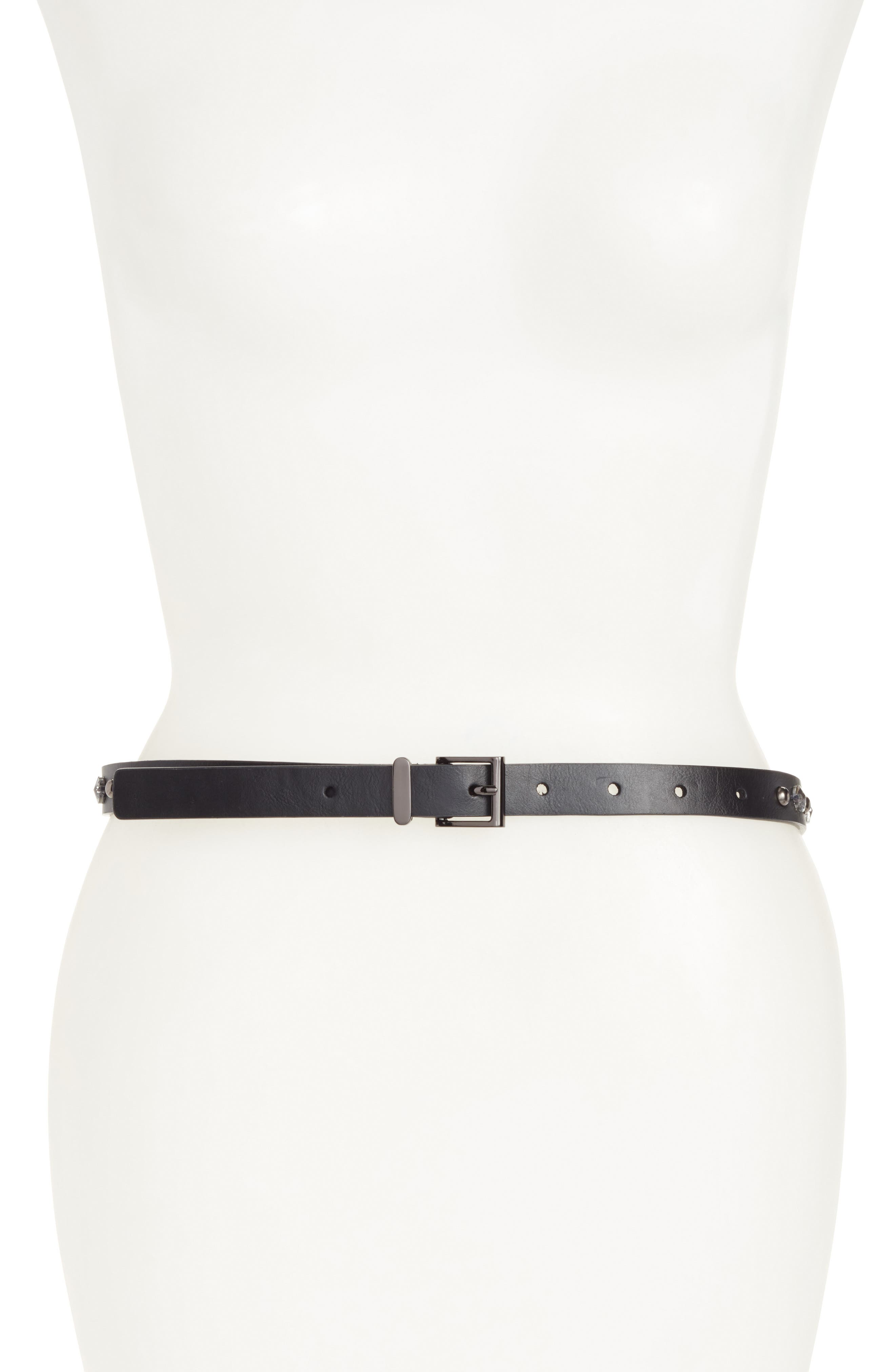 Main Image - Halogen® Embellished Skinny Leather Belt