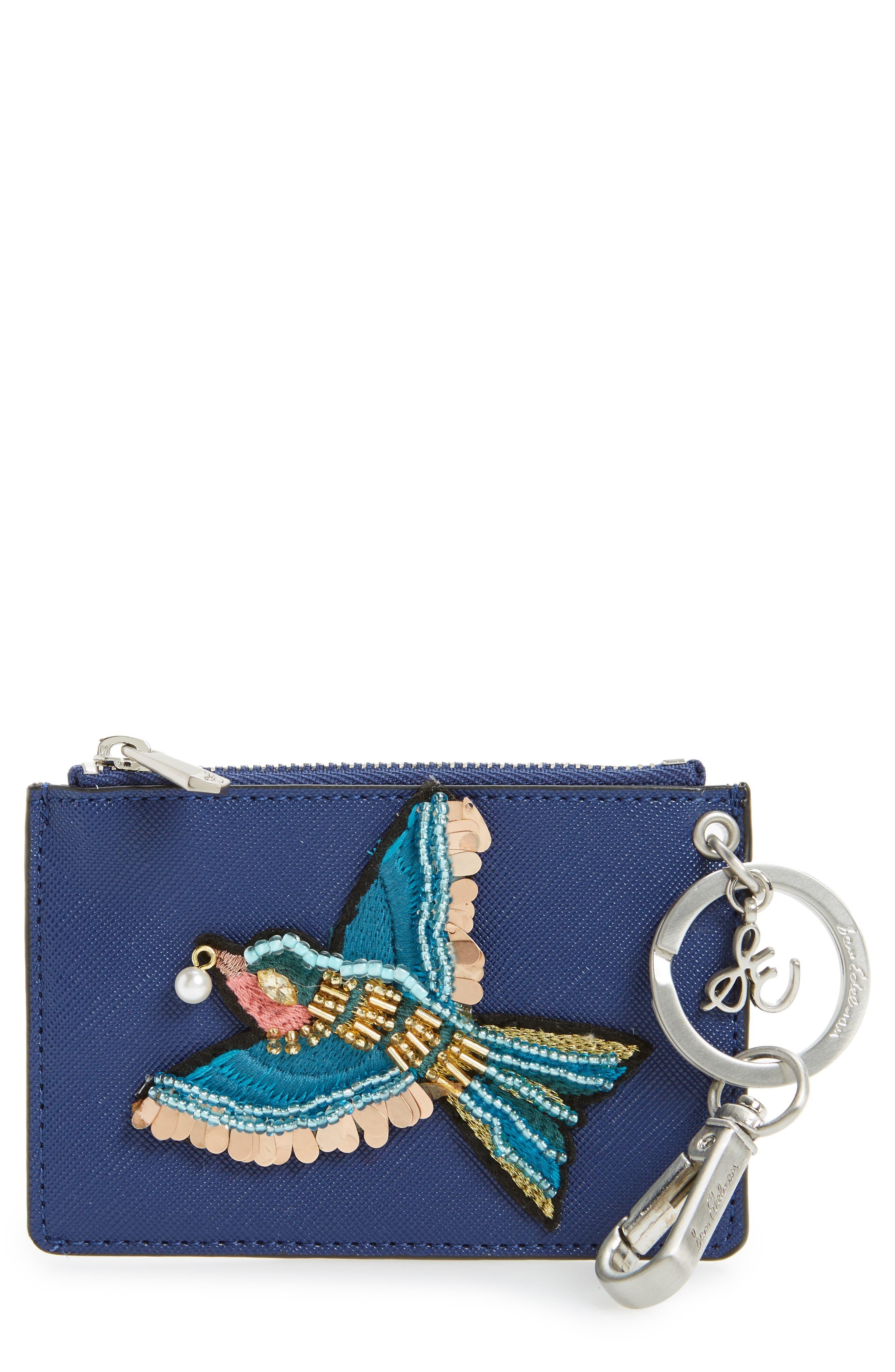 Carter Bird Embellished Faux Leather Card Case,                         Main,                         color, Poseidon Blue