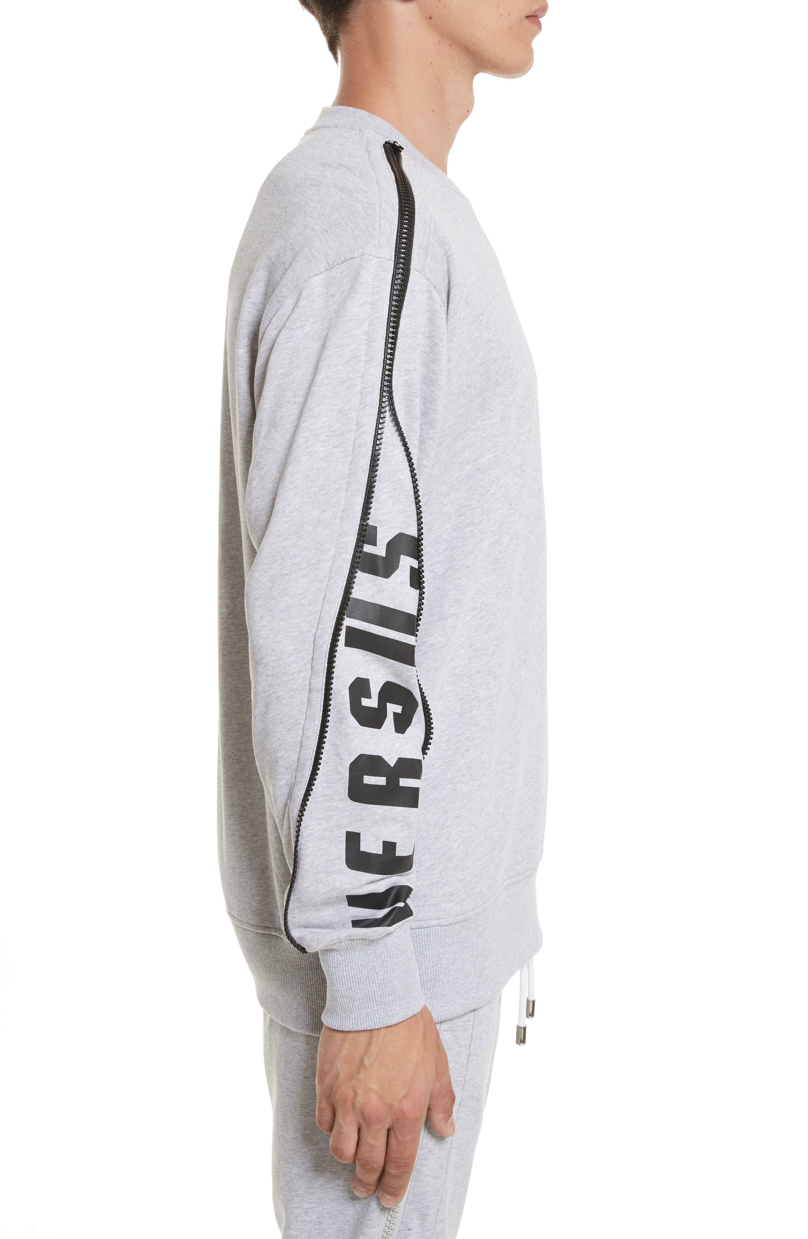 VERSUS by Versace Zip Sleeve Crewneck Sweatshirt,                             Alternate thumbnail 3, color,                             Grey