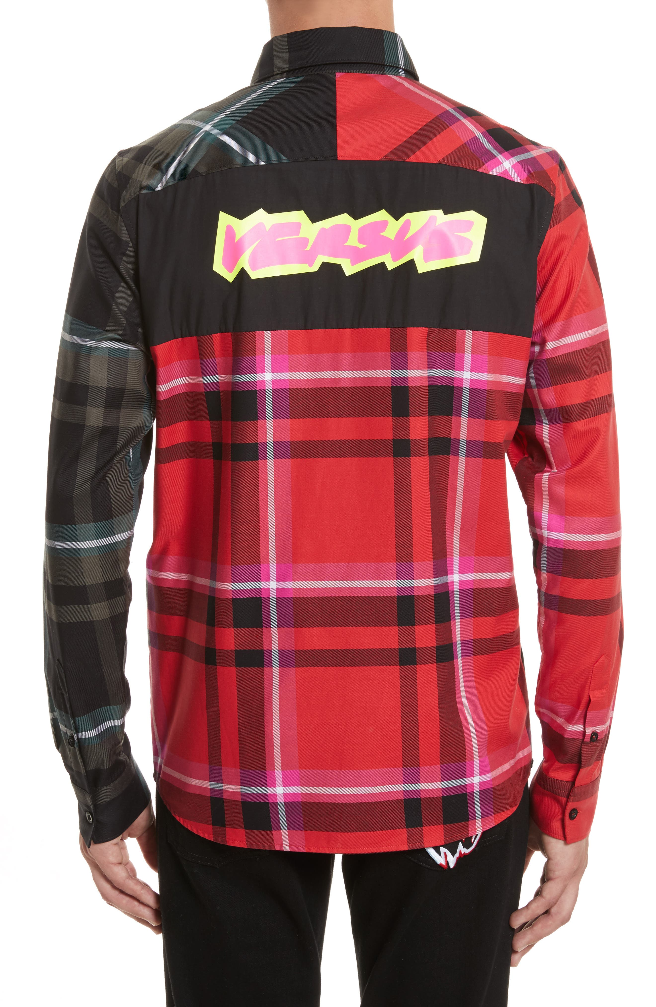VERSUS by Versace Plaid Woven Shirt,                             Alternate thumbnail 2, color,                             Red Multi