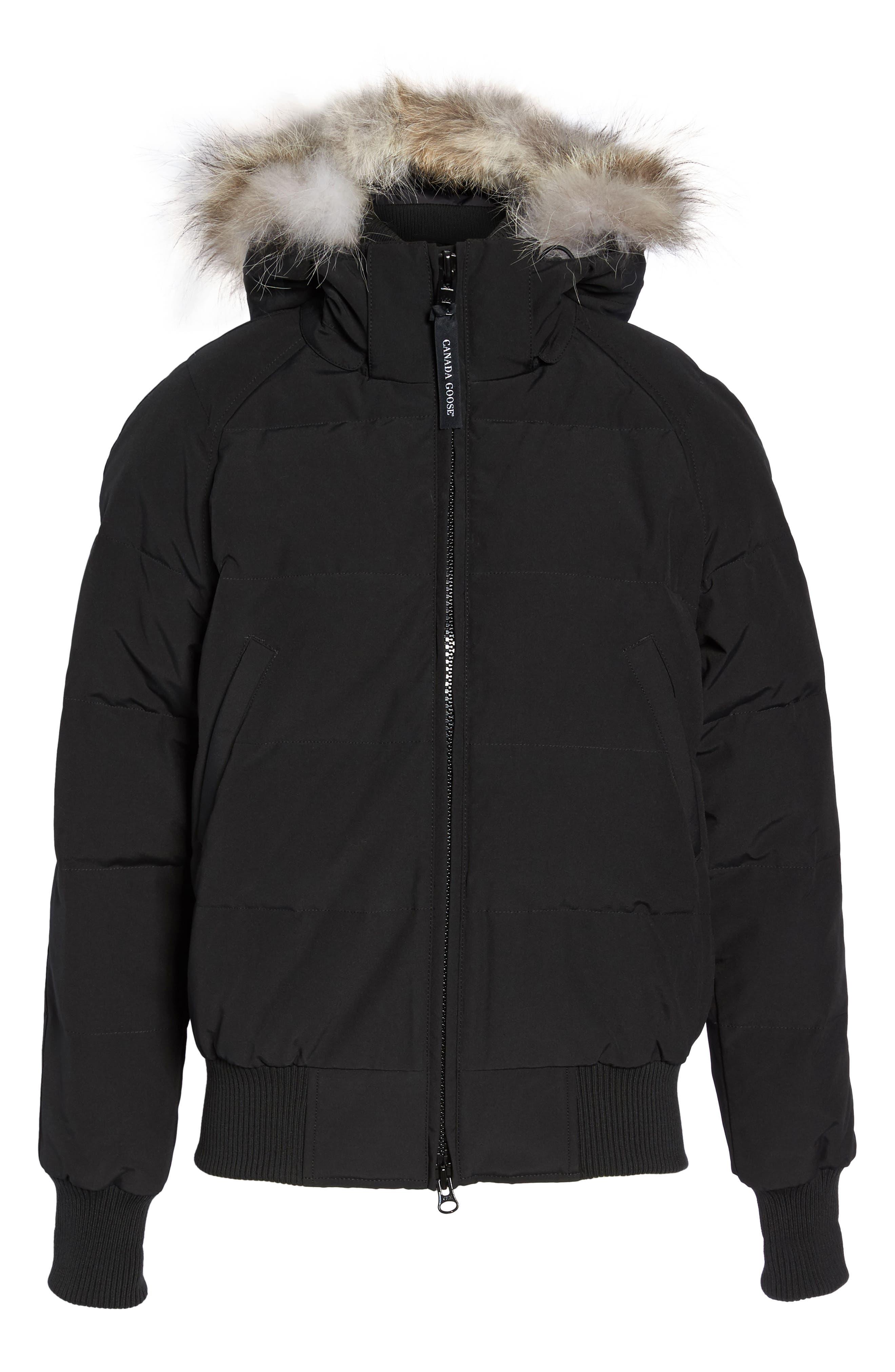 'Savona' Bomber Jacket with Genuine Coyote Fur Trim,                             Alternate thumbnail 7, color,                             Black