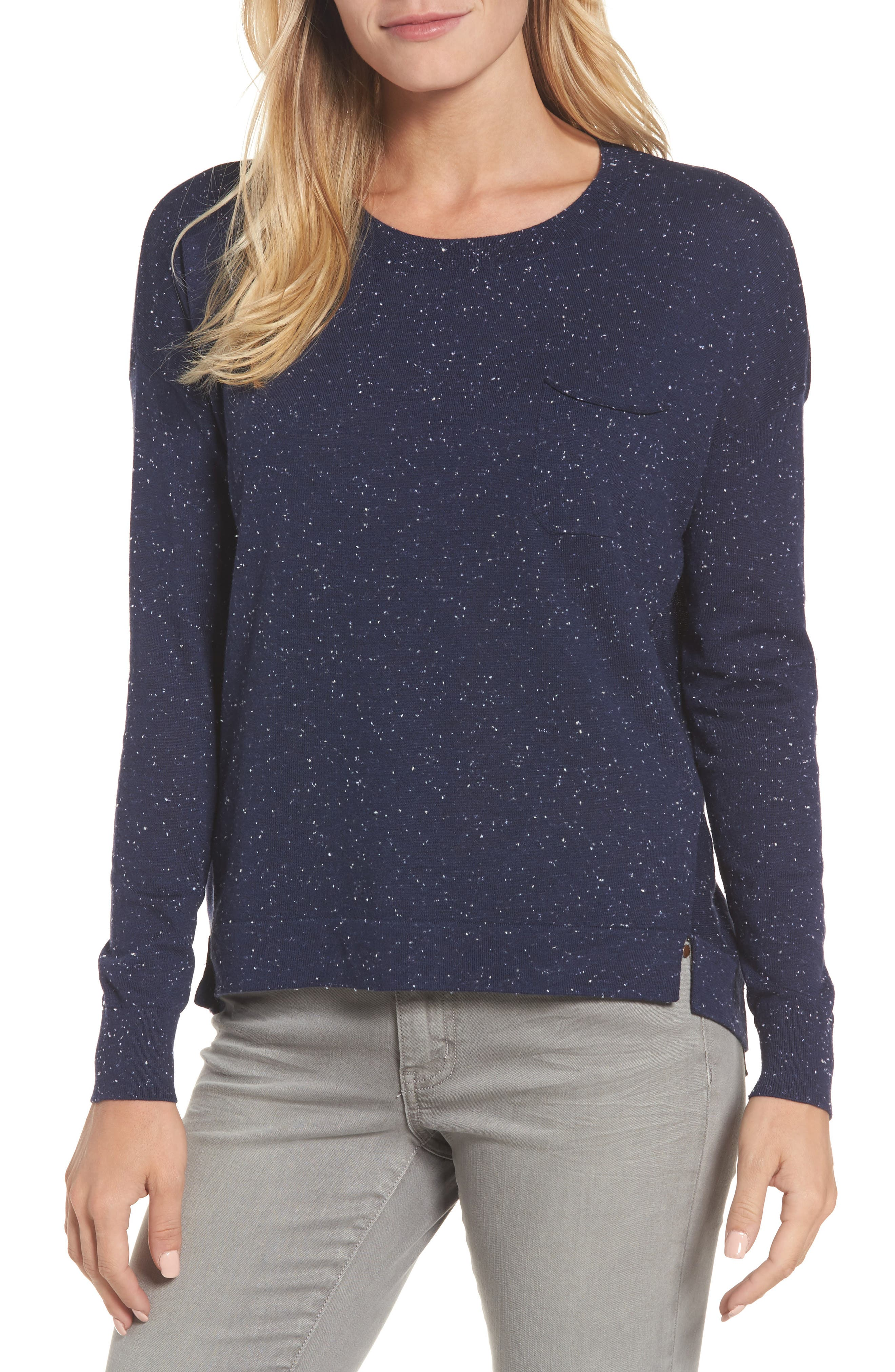 Pleat Back High/Low Crewneck Sweater,                         Main,                         color, Navy Nep