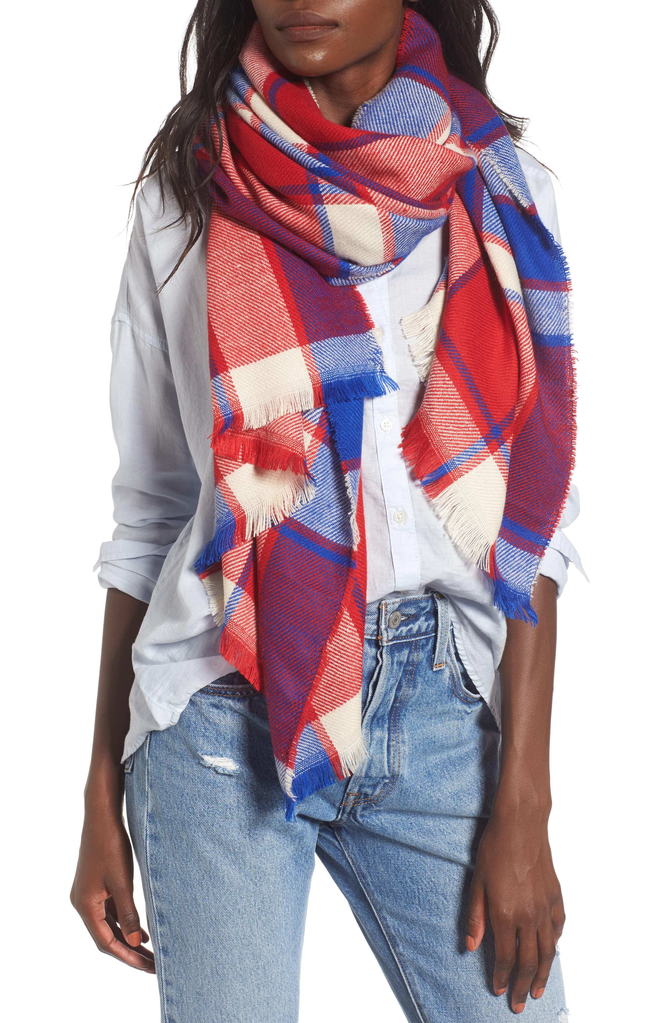 Plaid Scarf,                         Main,                         color, Red/ Blue