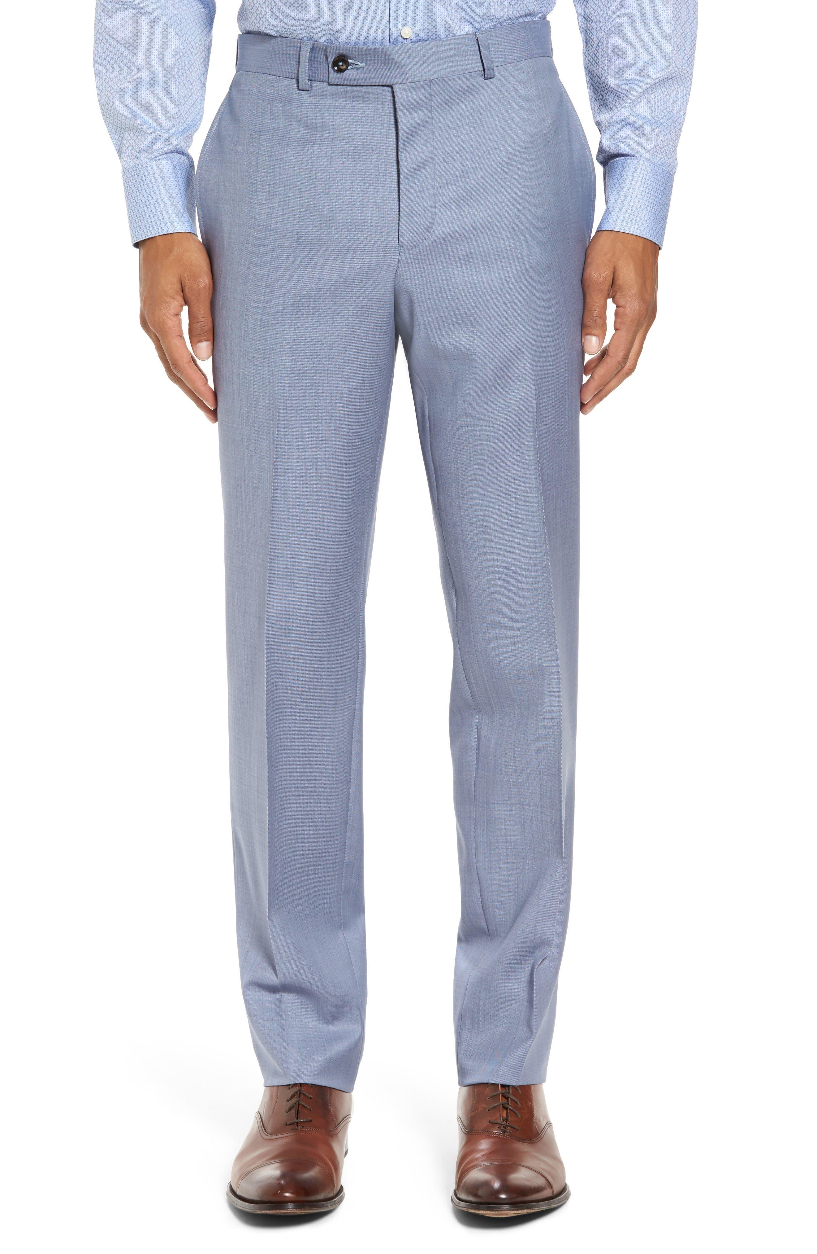 Trim Fit Solid Wool Suit,                             Alternate thumbnail 4, color,                             Light Blue