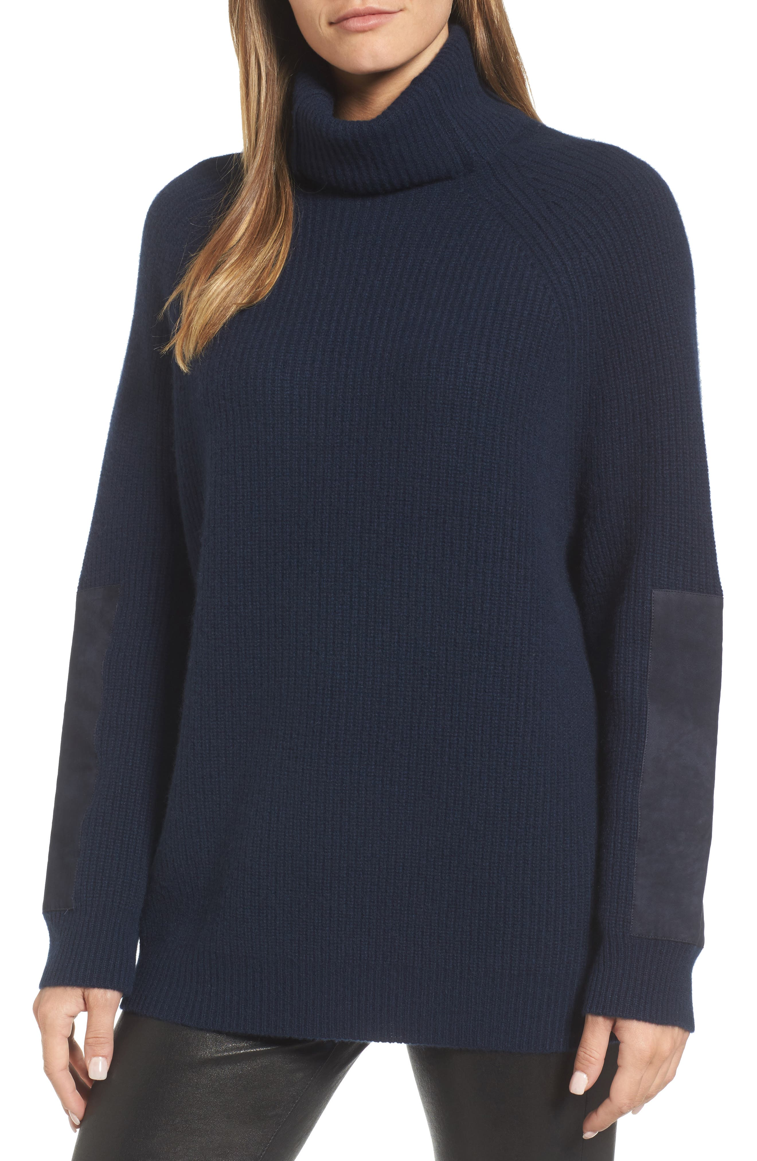 Suede Patch Cashmere Sweater,                         Main,                         color, Navy Medieval