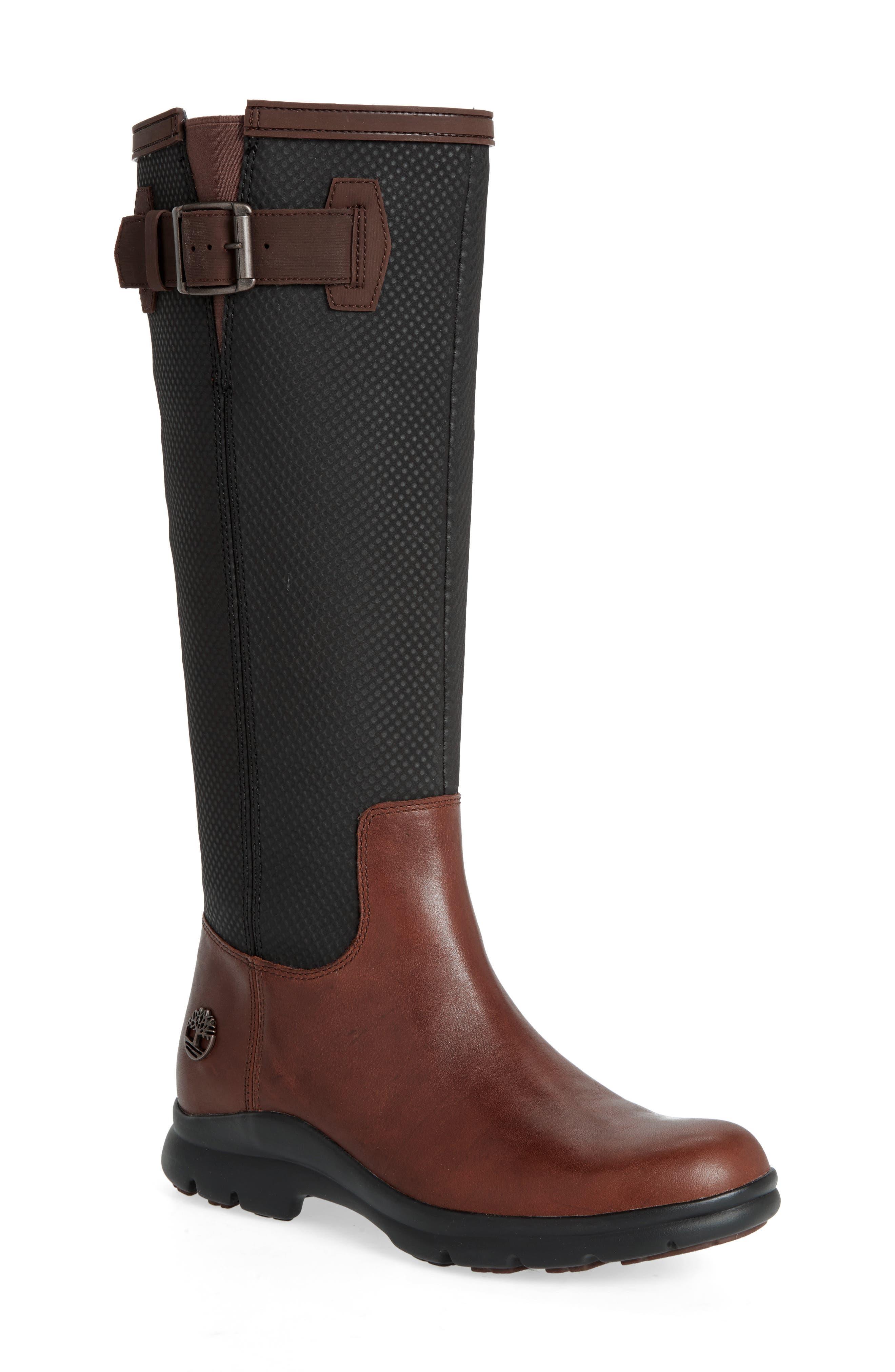Turain Tall Waterproof Boot,                             Main thumbnail 1, color,                             Medium Brown Leather