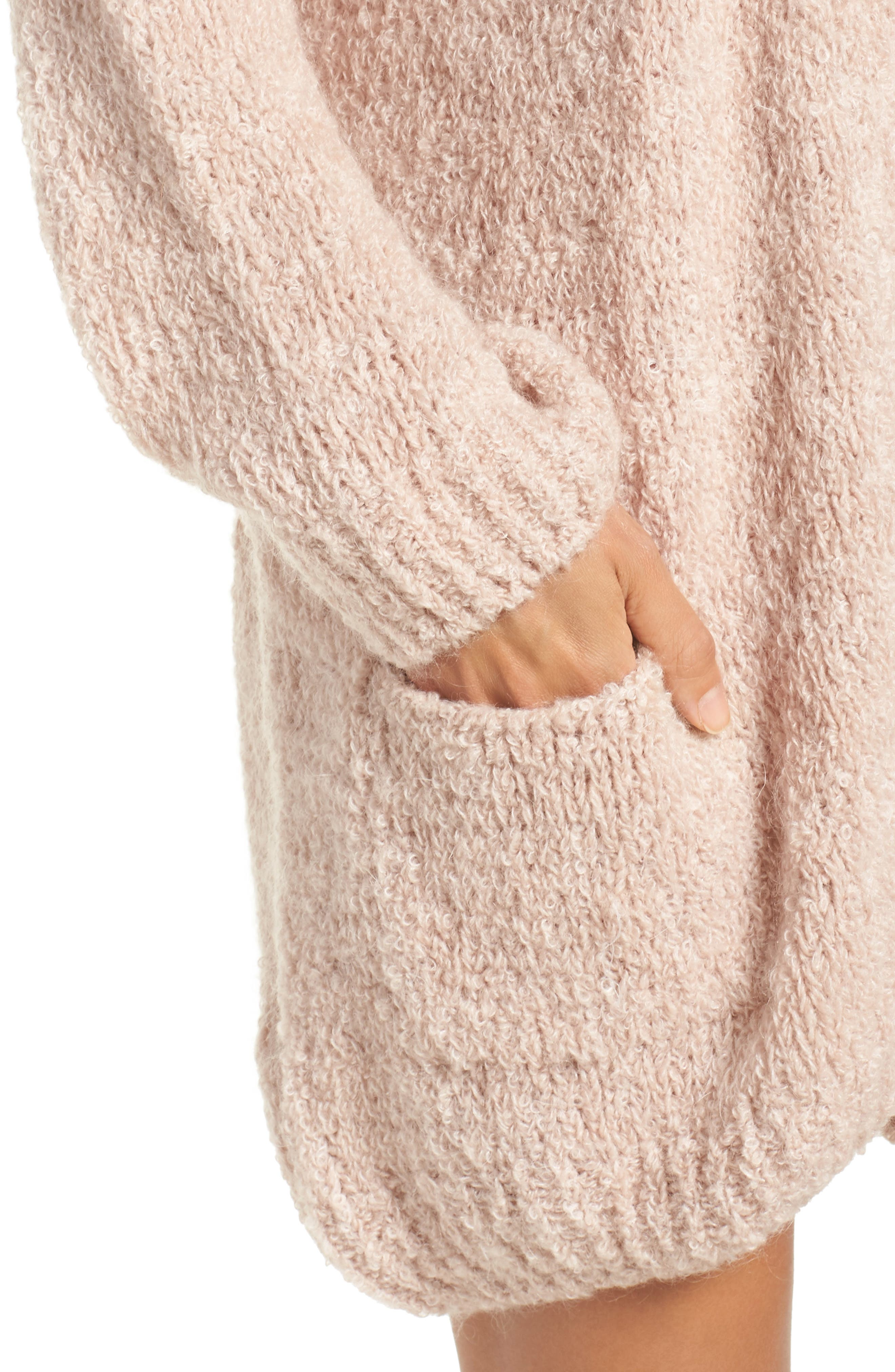 Lana Oversize Cardigan,                             Alternate thumbnail 5, color,                             Cameo Pink