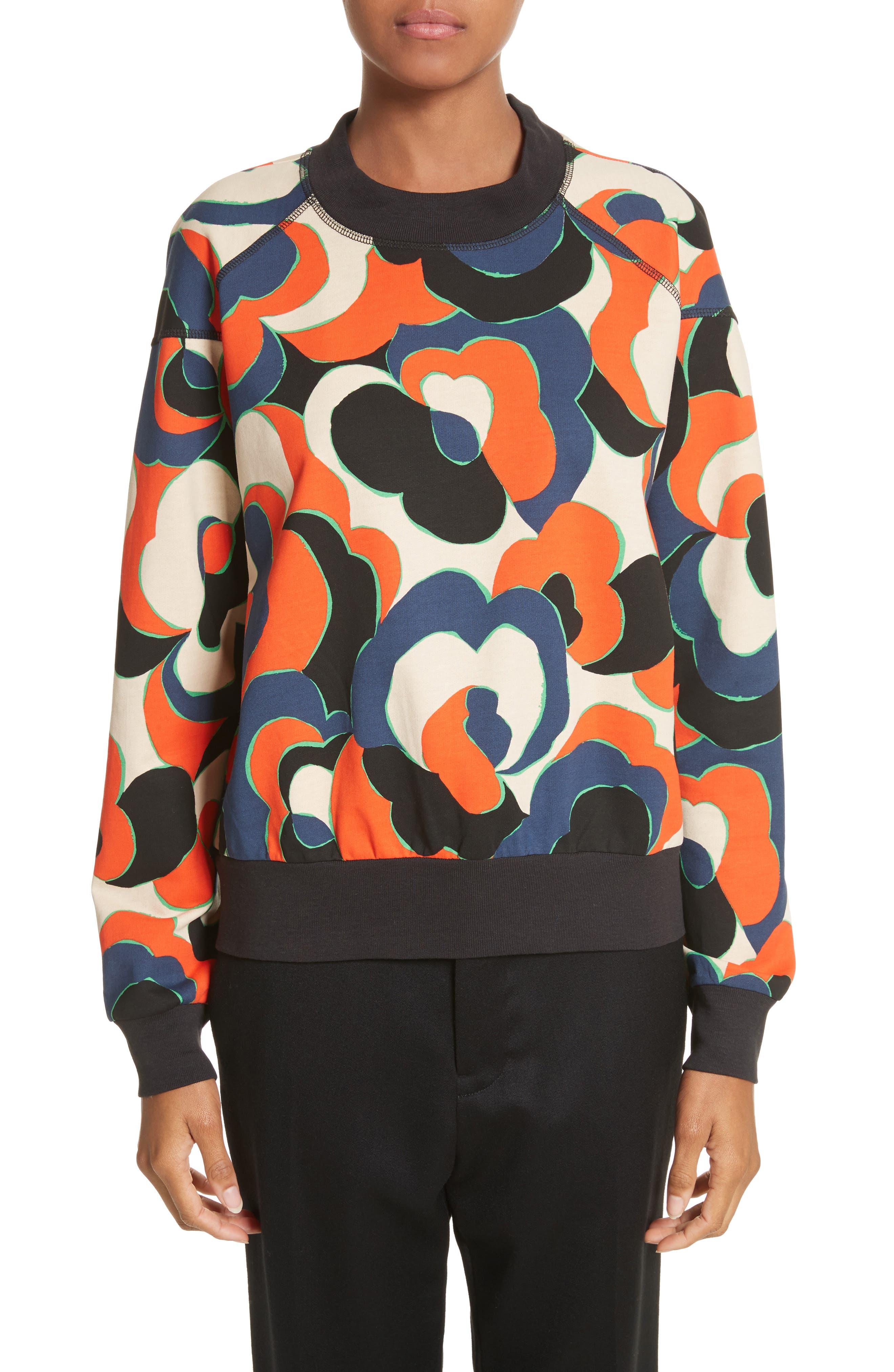 Hardmon Print Sweatshirt,                         Main,                         color, Red