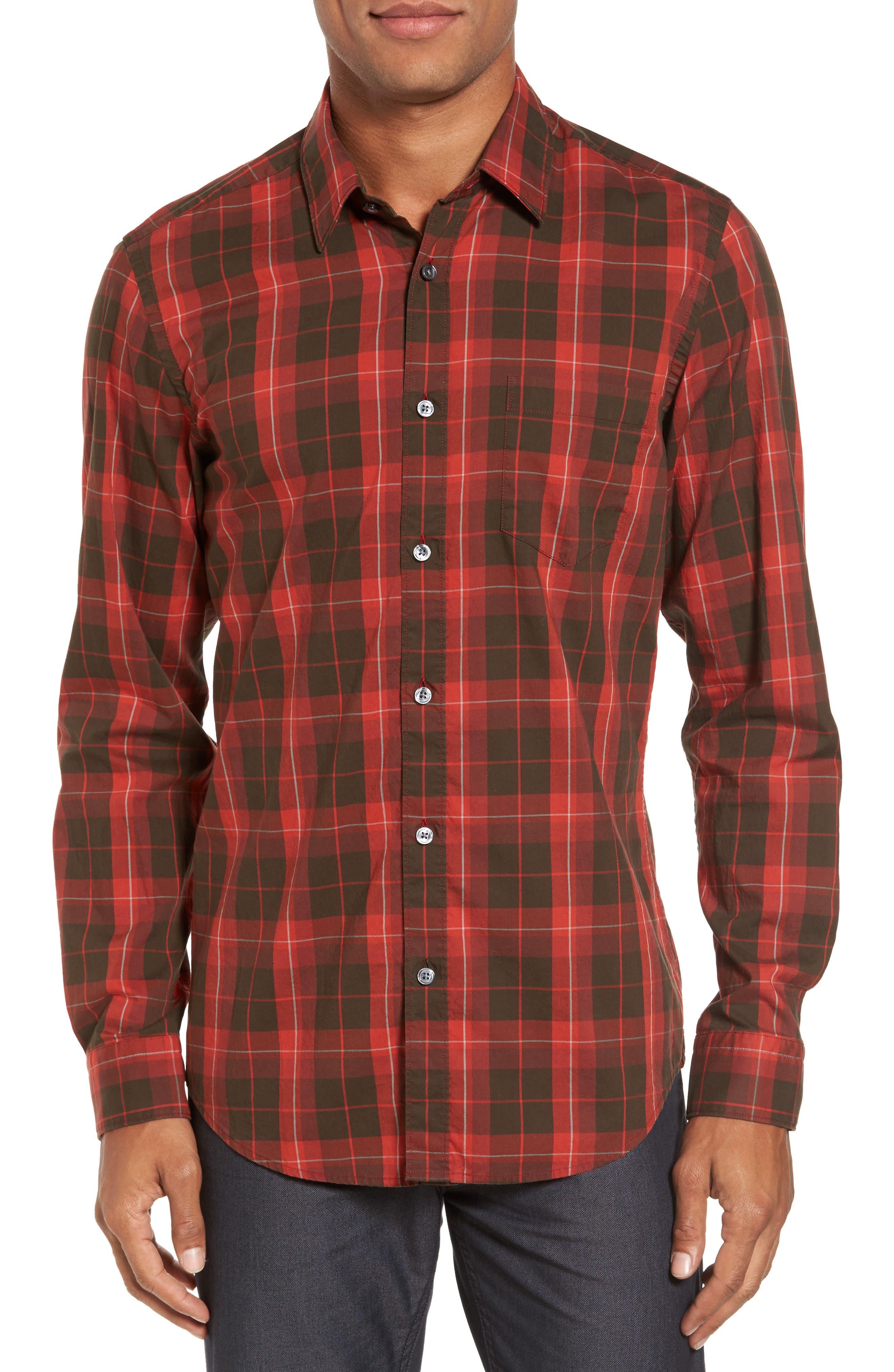 BOSS Lukas Regular Fit Windowpane Plaid Sport Shirt