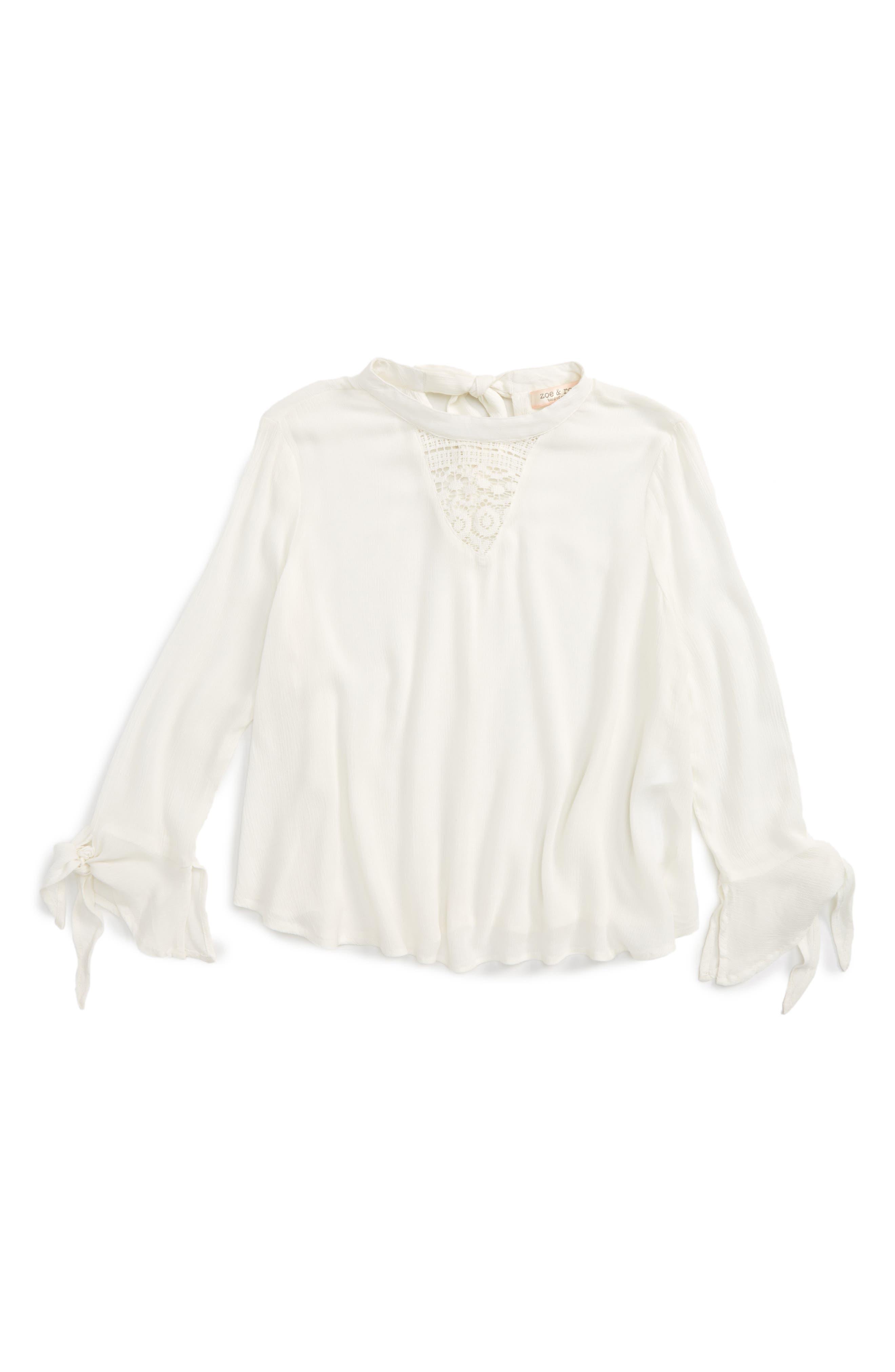 Crochet Inset Top,                         Main,                         color, X1d-Ivory