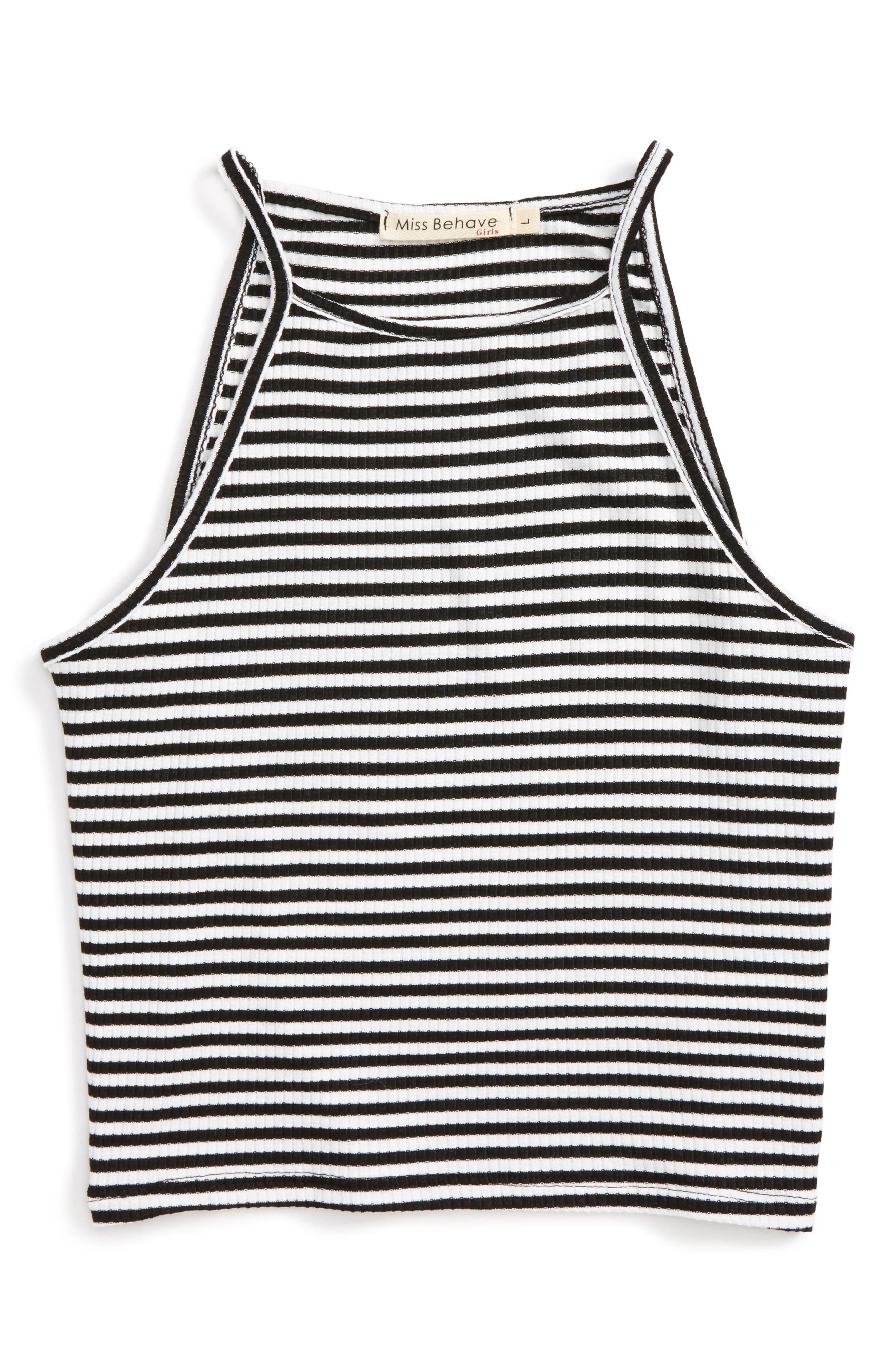 Alice Stripe Tank Top,                         Main,                         color, Black/ White