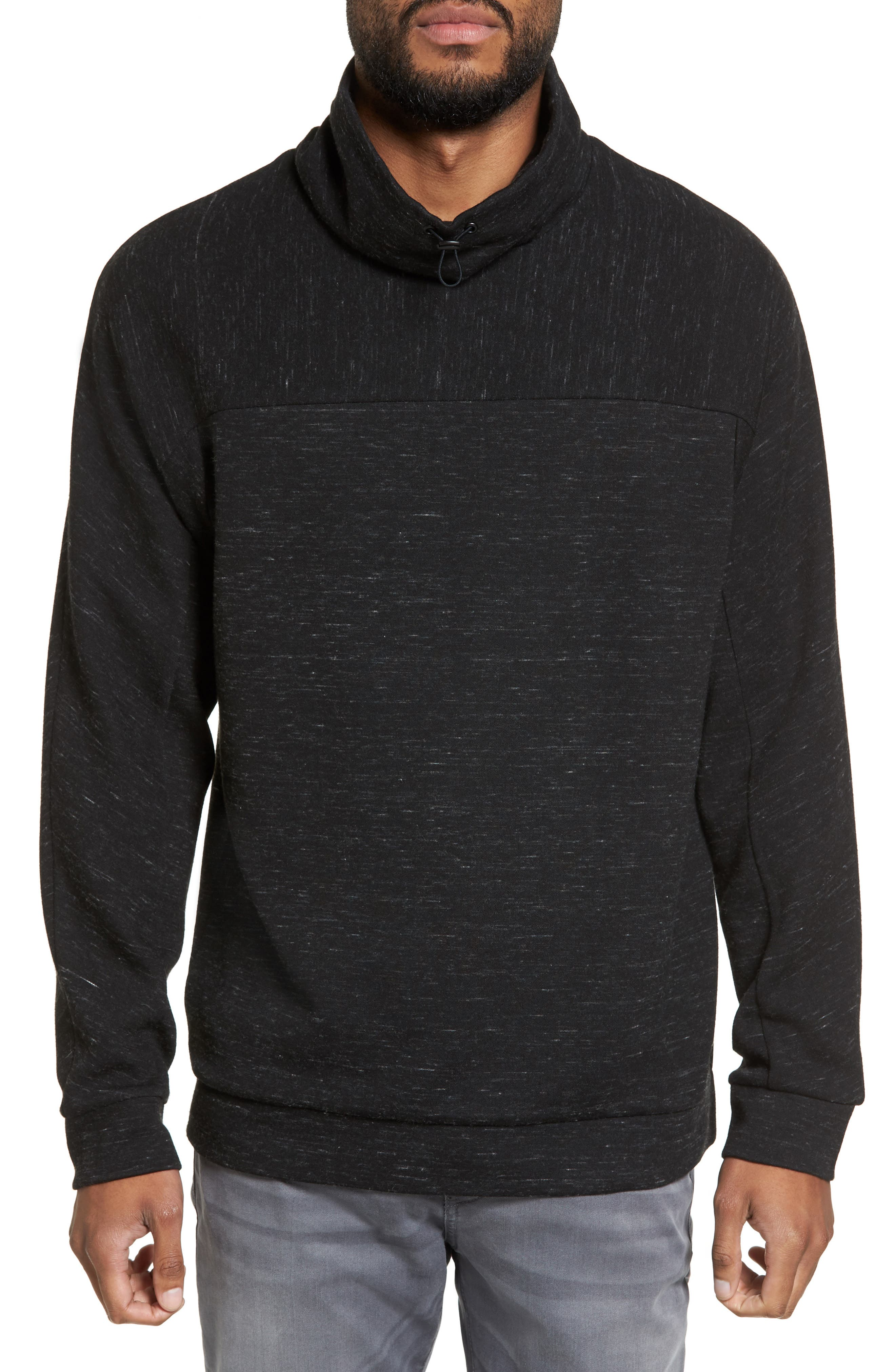 Space Dye Fleece Pullover,                         Main,                         color, Black Spacedye