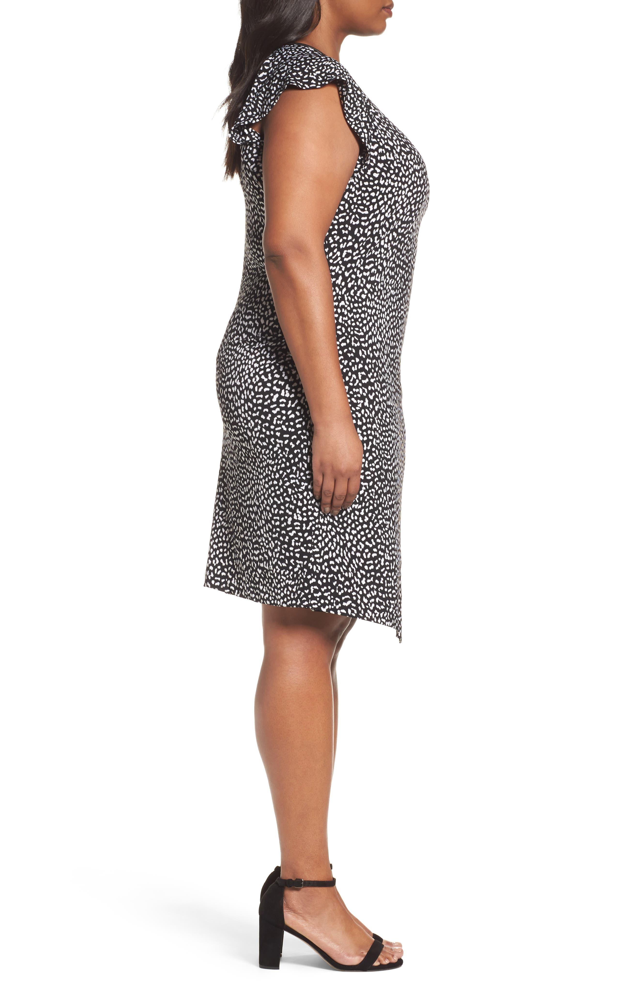 Cheetah Print Flutter Sleeve Dress,                             Alternate thumbnail 3, color,                             Black
