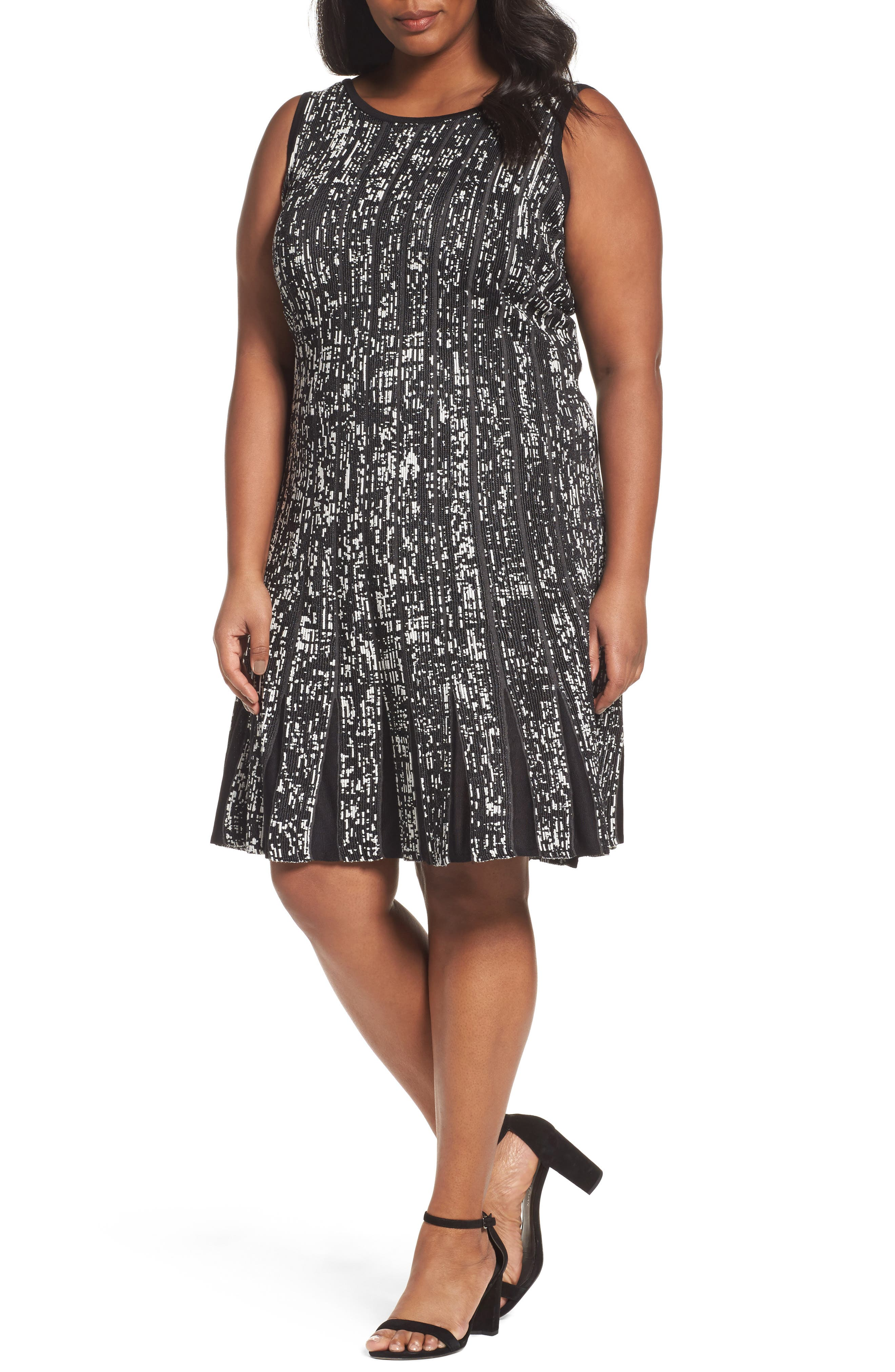 Boulevard Twirl Dress,                         Main,                         color, Black Multi