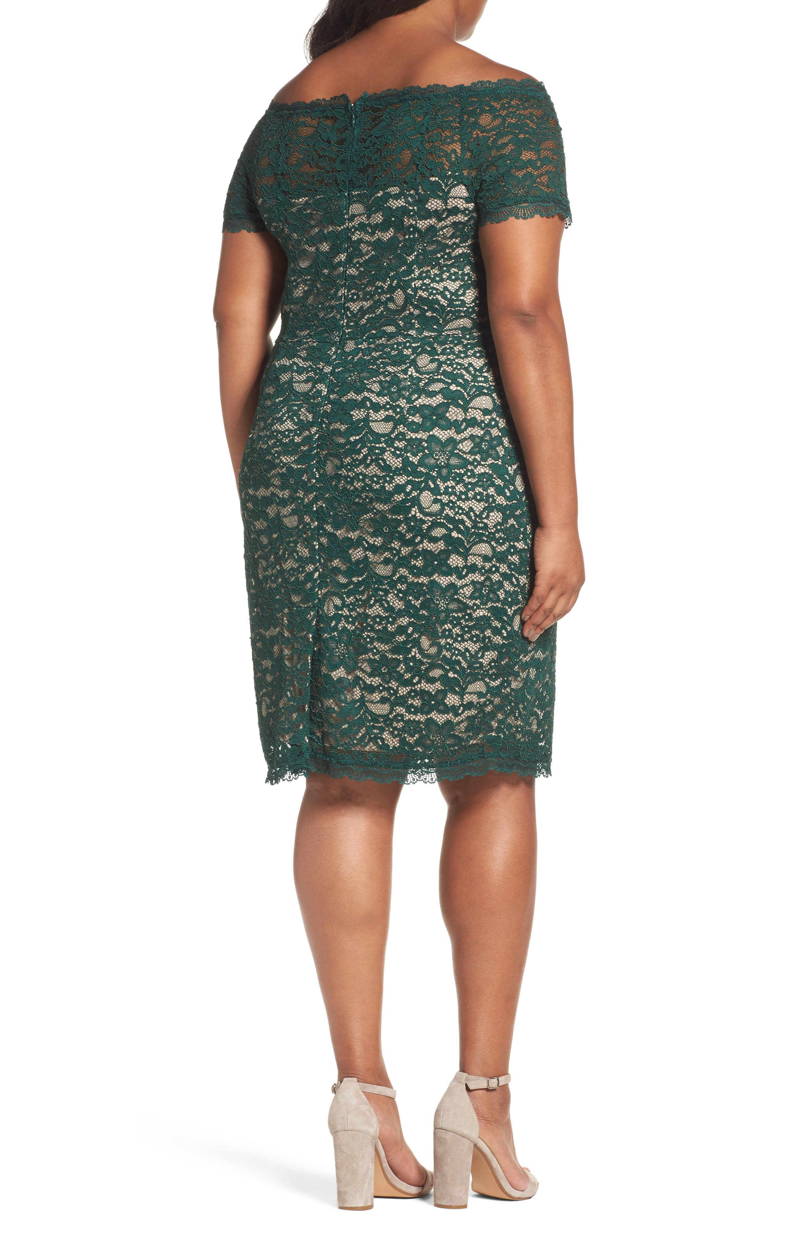Alternate Image 2  - Adrianna Papell Off the Shoulder Lace Sheath Dress (Plus Size)