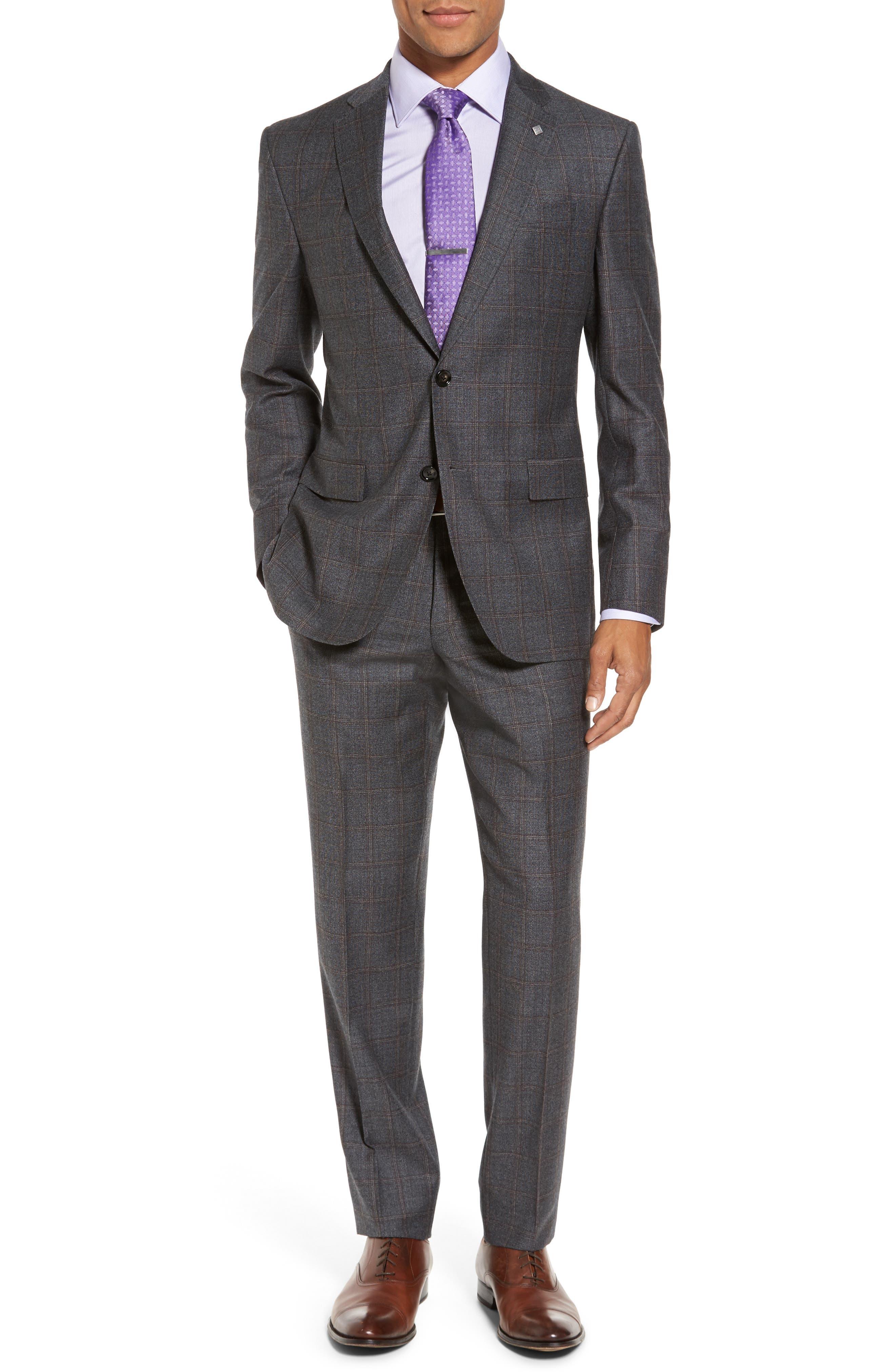 Trim Fit Plaid Wool Suit,                         Main,                         color, Grey