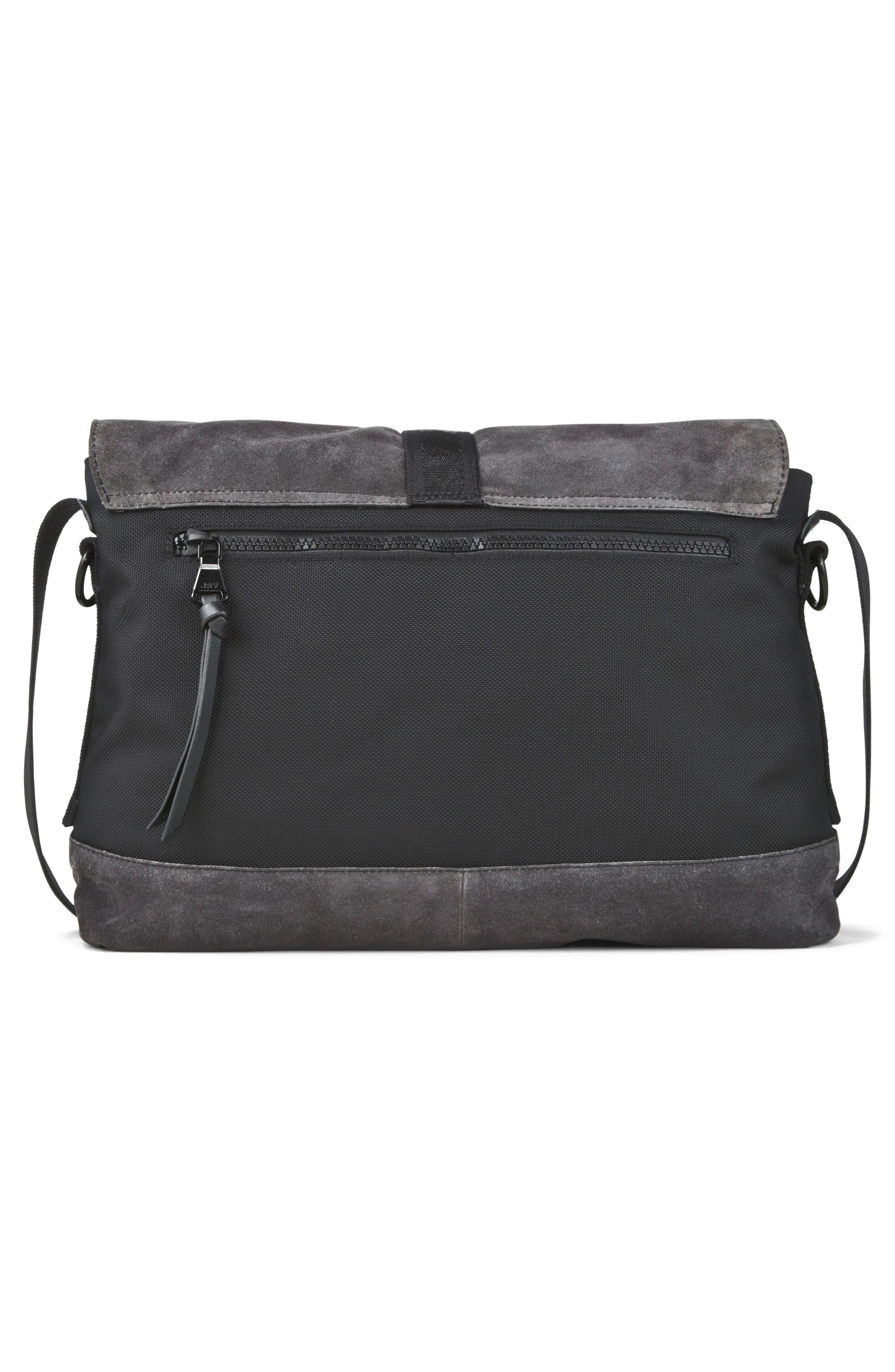 Suede & Ballistic Nylon Messenger Bag,                             Alternate thumbnail 2, color,                             Elephant