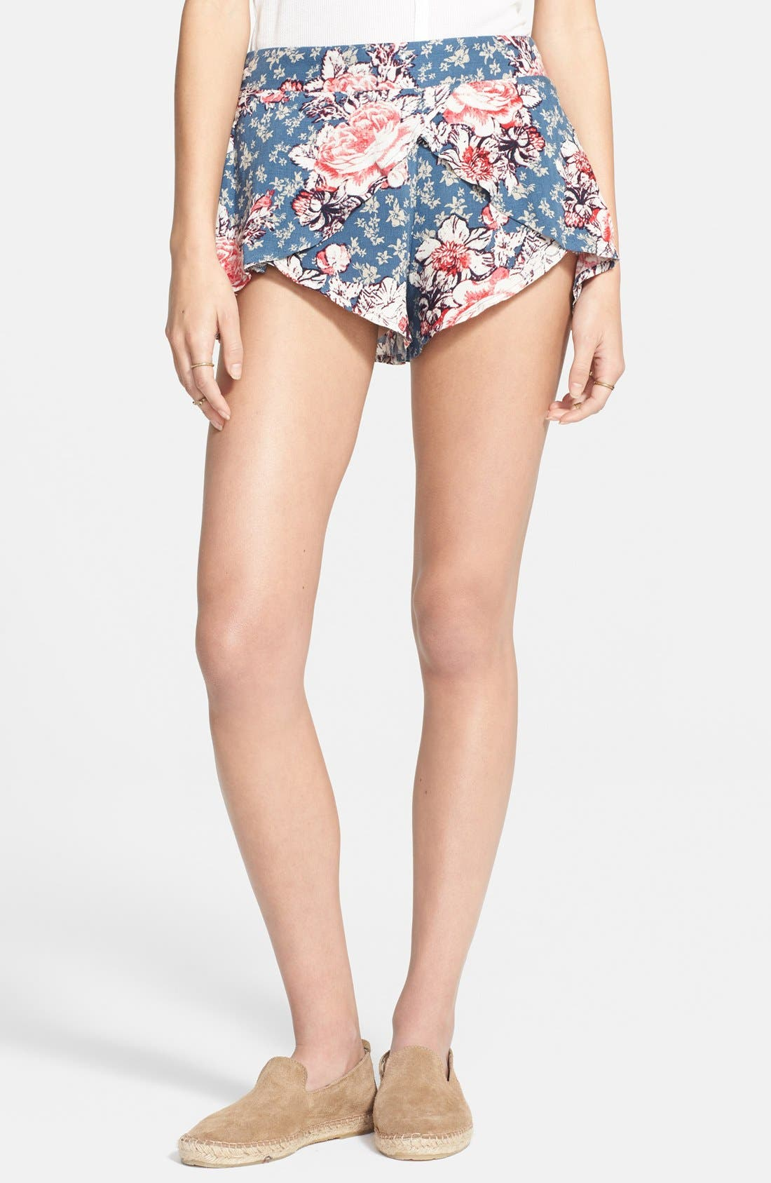 Alternate Image 1 Selected - Free People 'Extreme Crossover' Floral Print Shorts