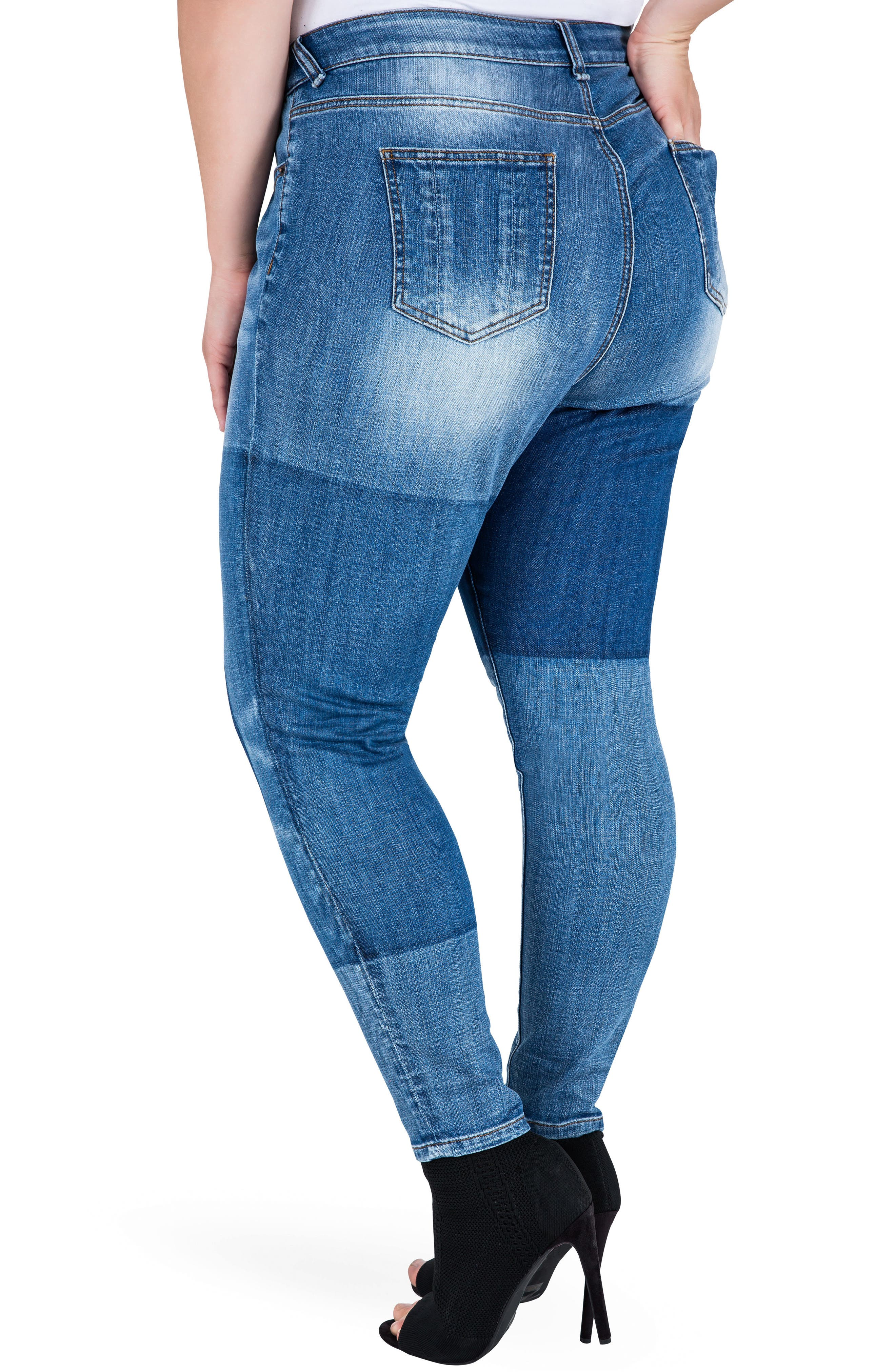 Isabel Colorblock Skinny Jeans,                             Alternate thumbnail 3, color,                             Periwinkle